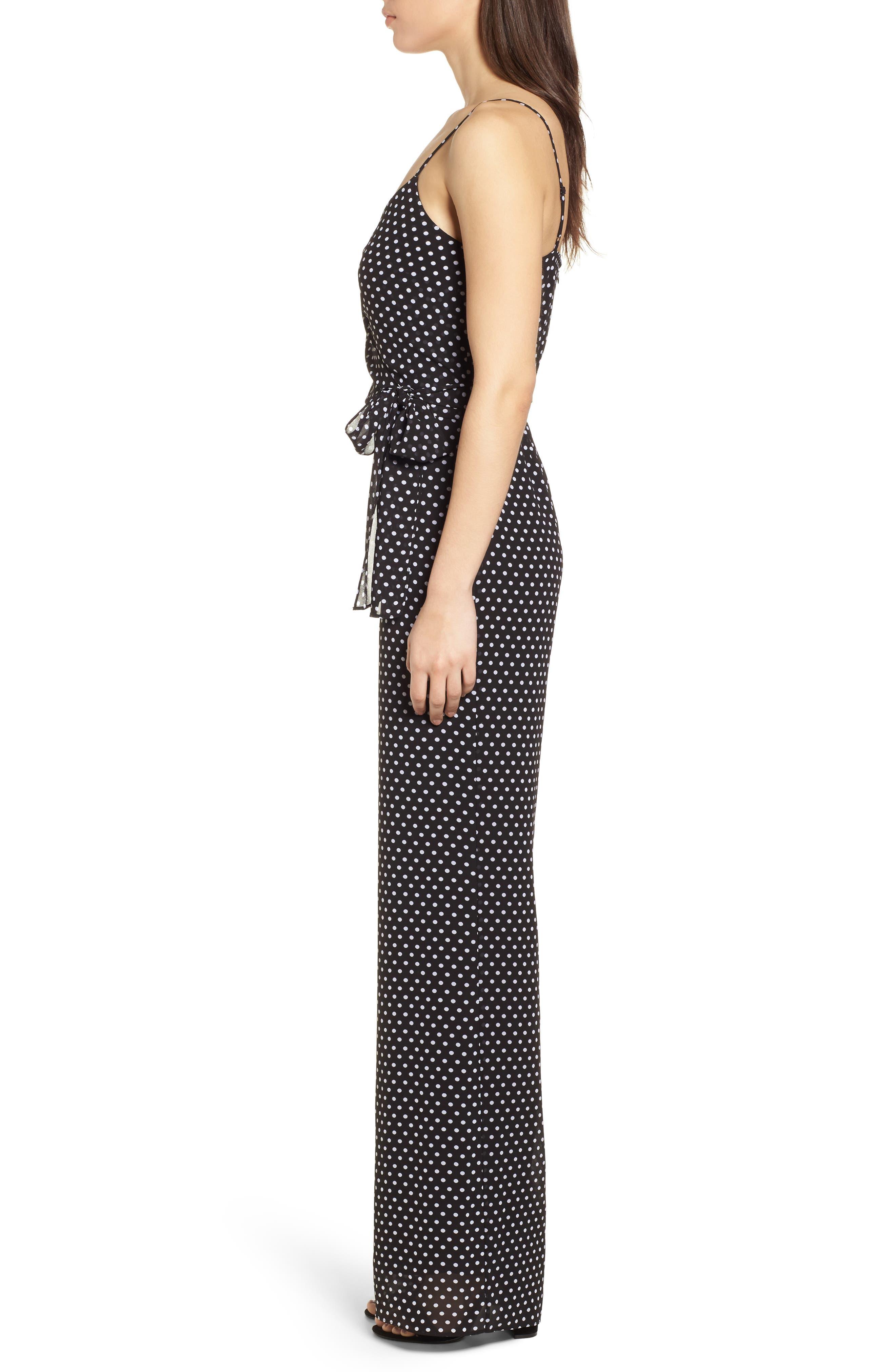 Simple Dot Side Tie Jumpsuit,                             Alternate thumbnail 3, color,                             Black/ White