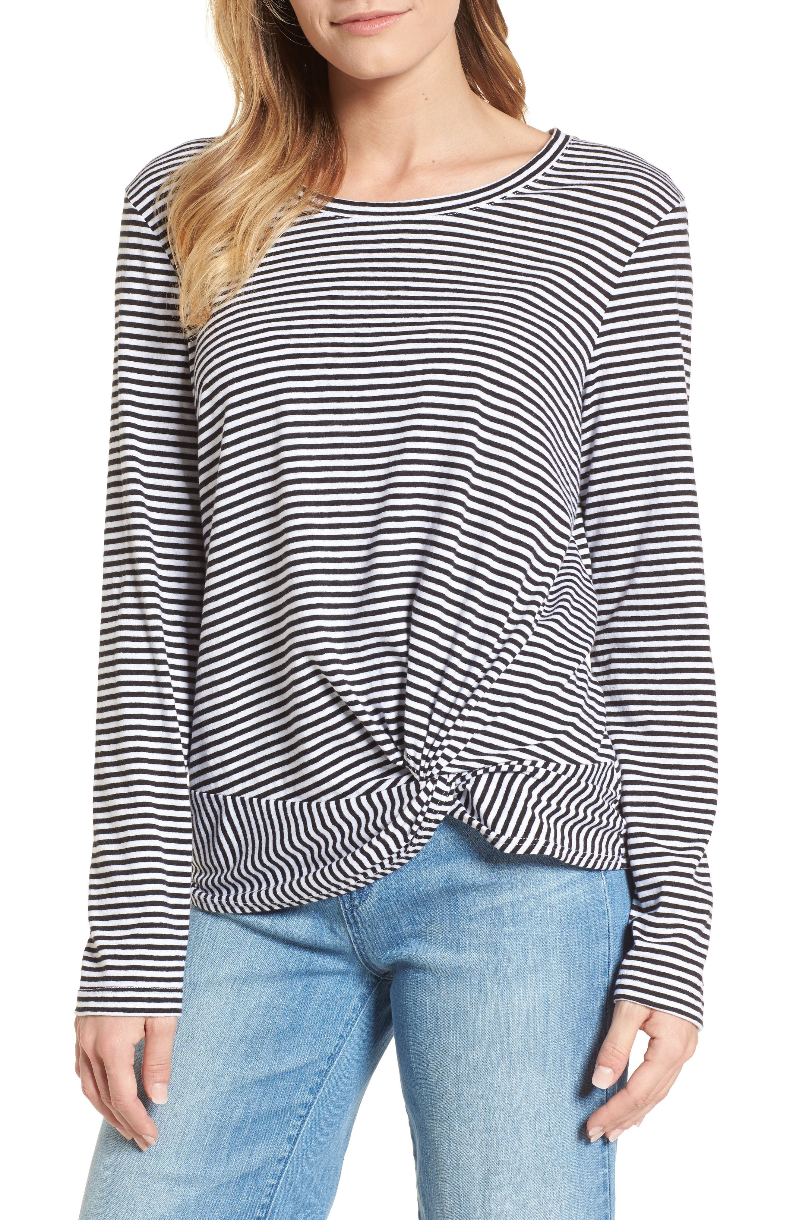 Long Sleeve Front Knot Tee,                             Main thumbnail 1, color,                             Black- White Even Stripe