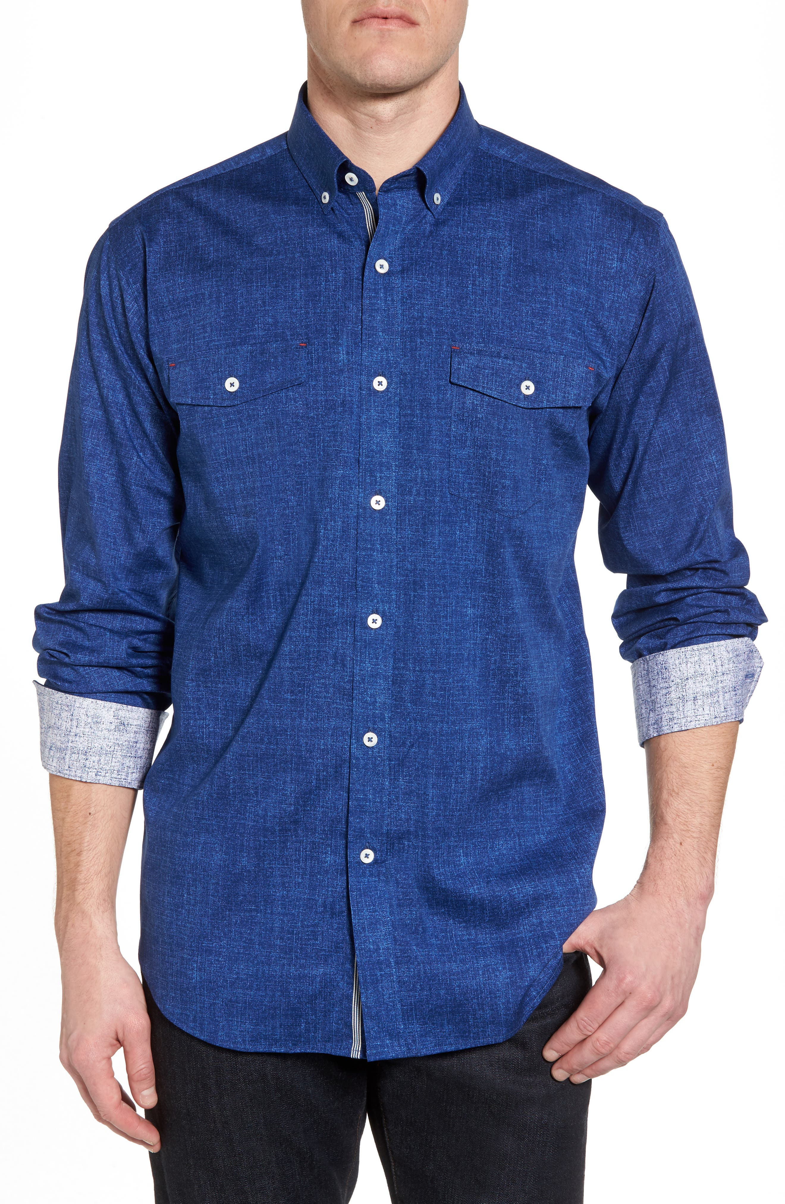Chambray Print Classic Fit Sport Shirt,                         Main,                         color, Navy