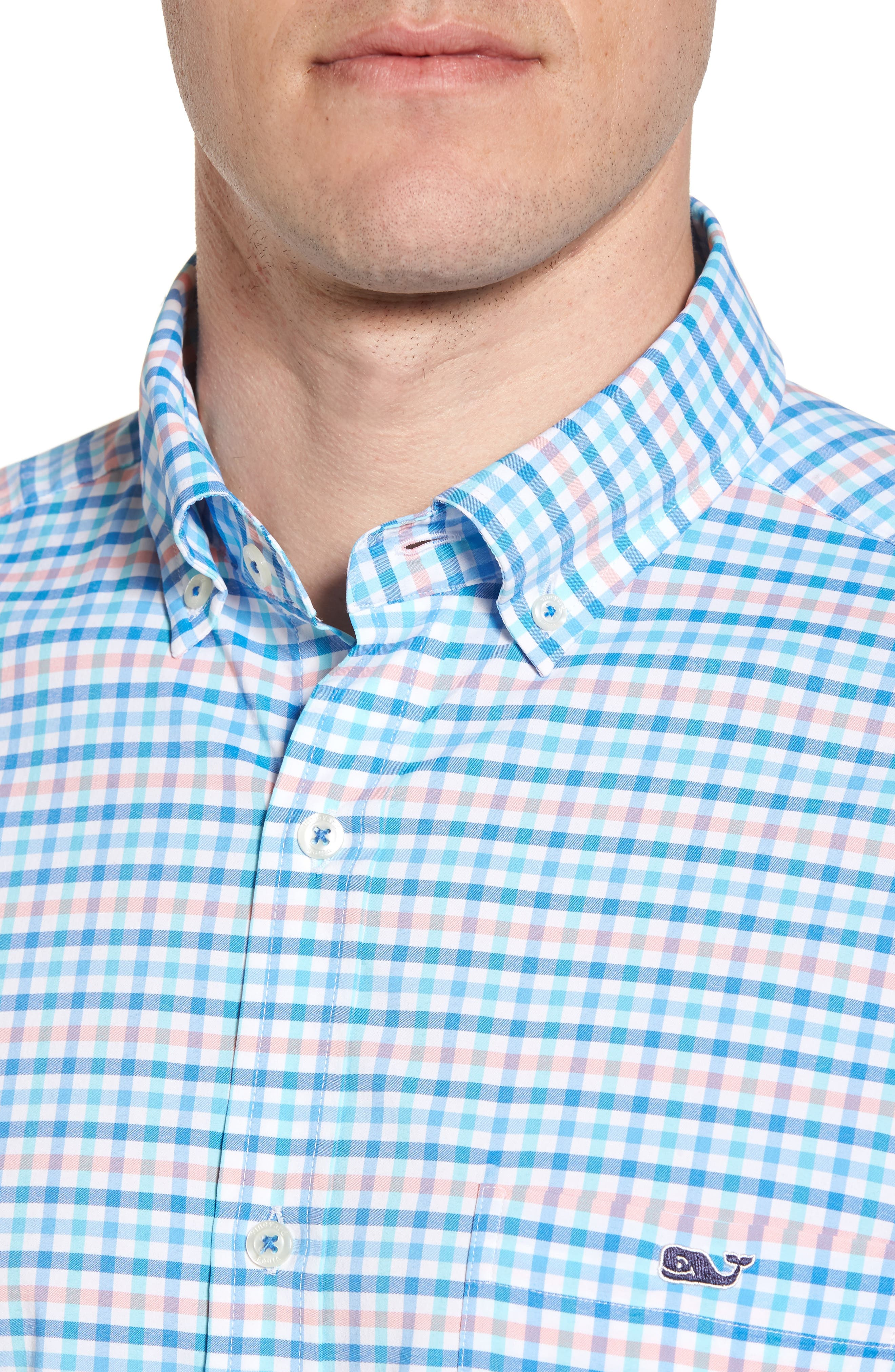 Coco Bay Classic Fit Check Performance Sport Shirt,                             Alternate thumbnail 4, color,                             Ocean Breeze