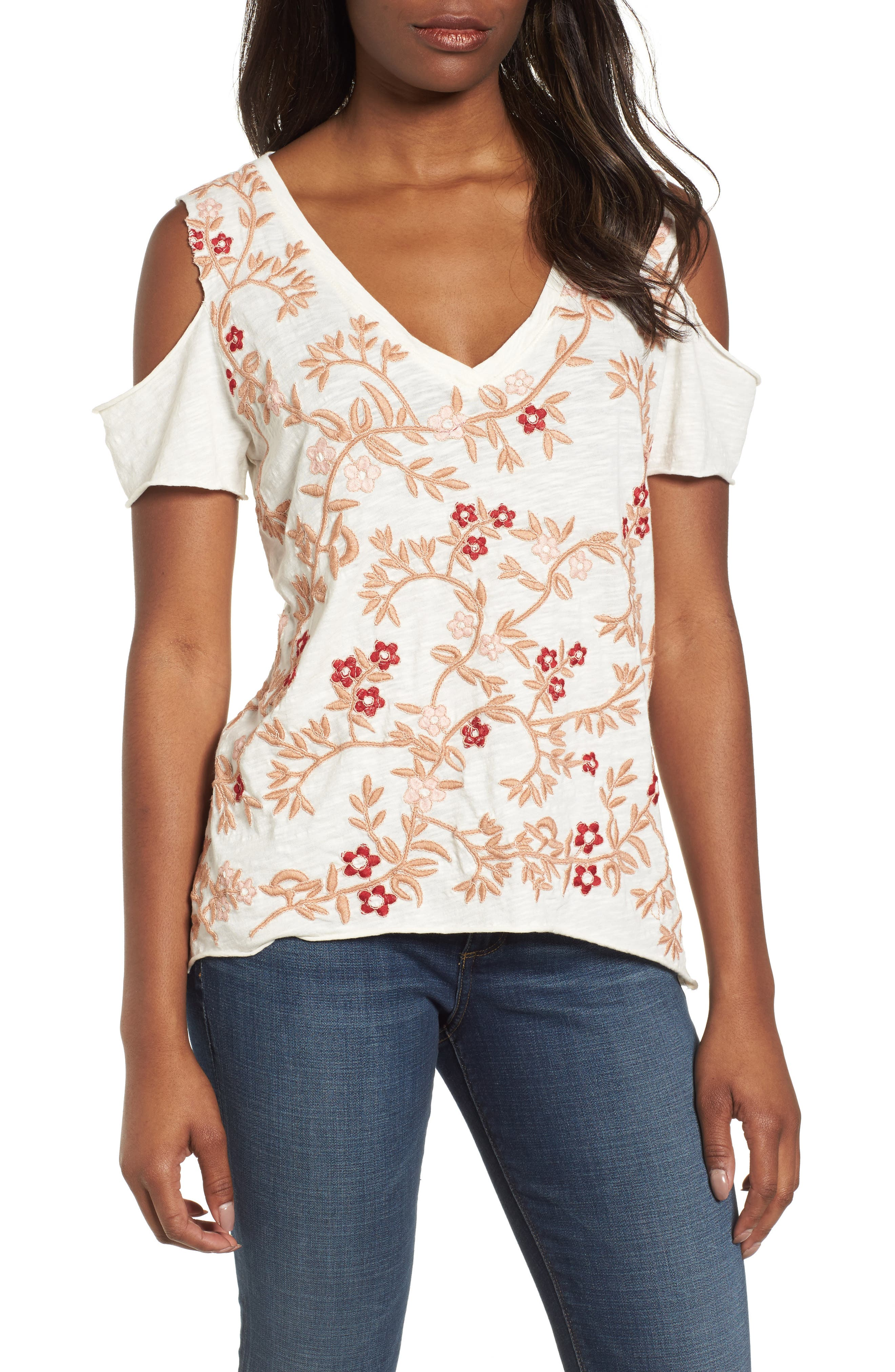 Floral Embroidered Cold Shoulder Top,                             Main thumbnail 1, color,                             Pink Multi
