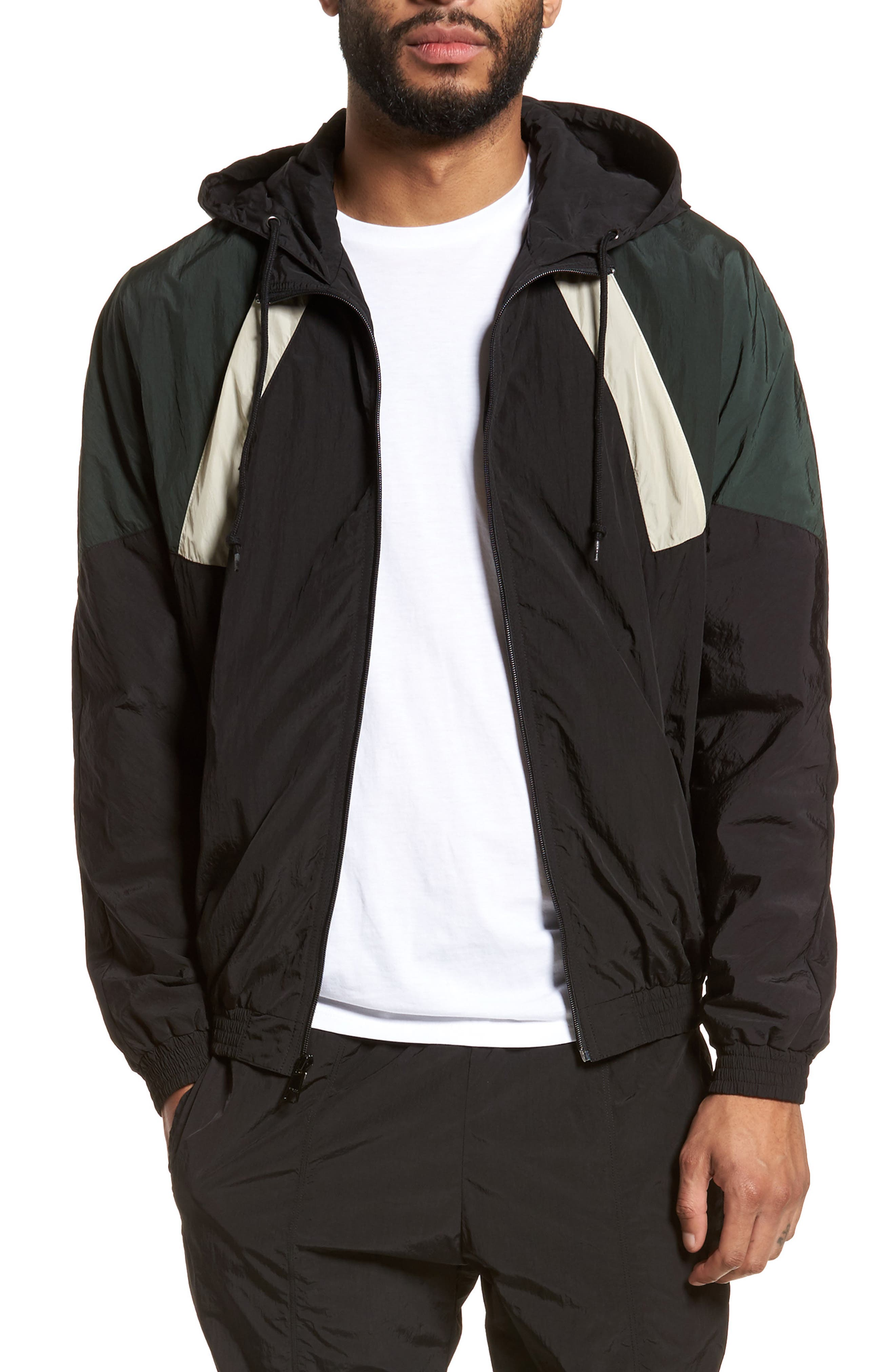 Hooded Shell Jacket,                         Main,                         color, Black/ Deep Forest