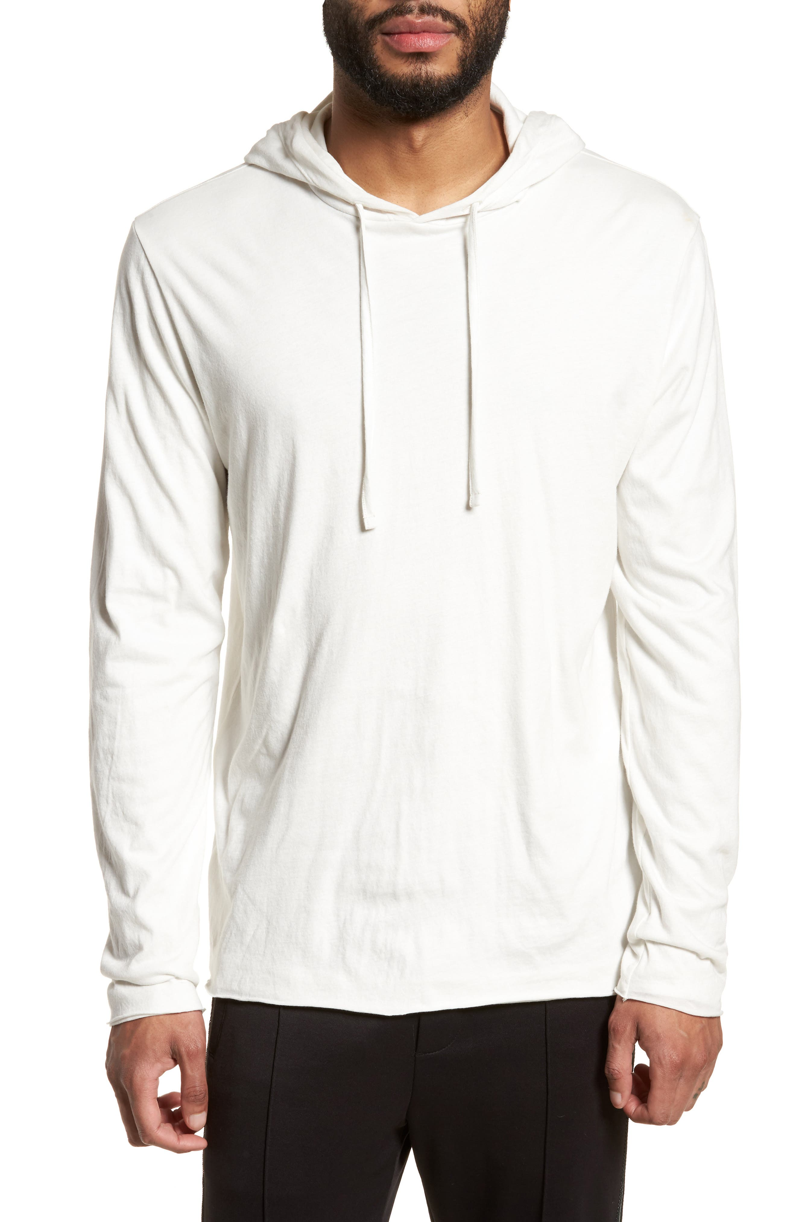 Layered Long Sleeve Pullover Hoodie,                             Main thumbnail 1, color,                             Optic White