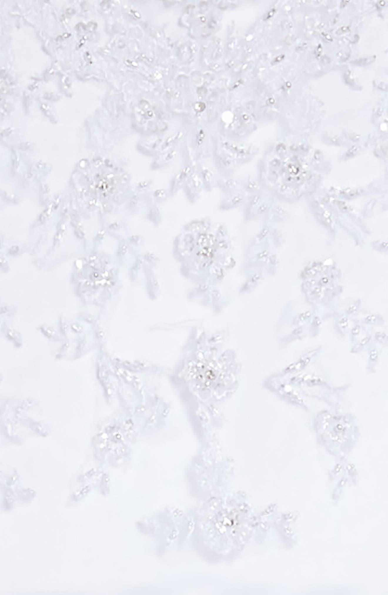 Beaded Satin & Tulle First Communion Dress,                             Alternate thumbnail 3, color,                             White