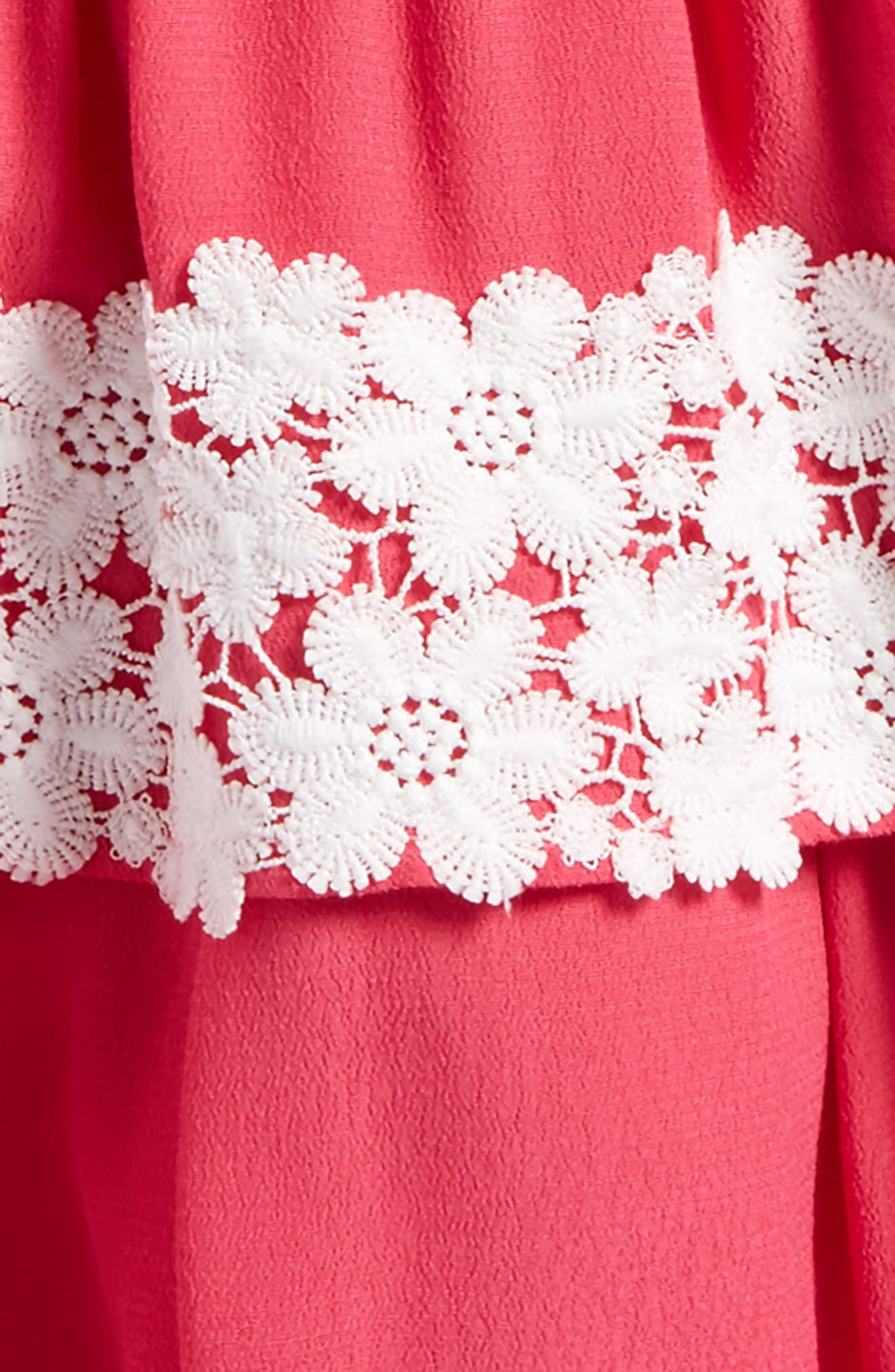 Tiered Skirt Dress,                             Alternate thumbnail 3, color,                             Calypso Coral