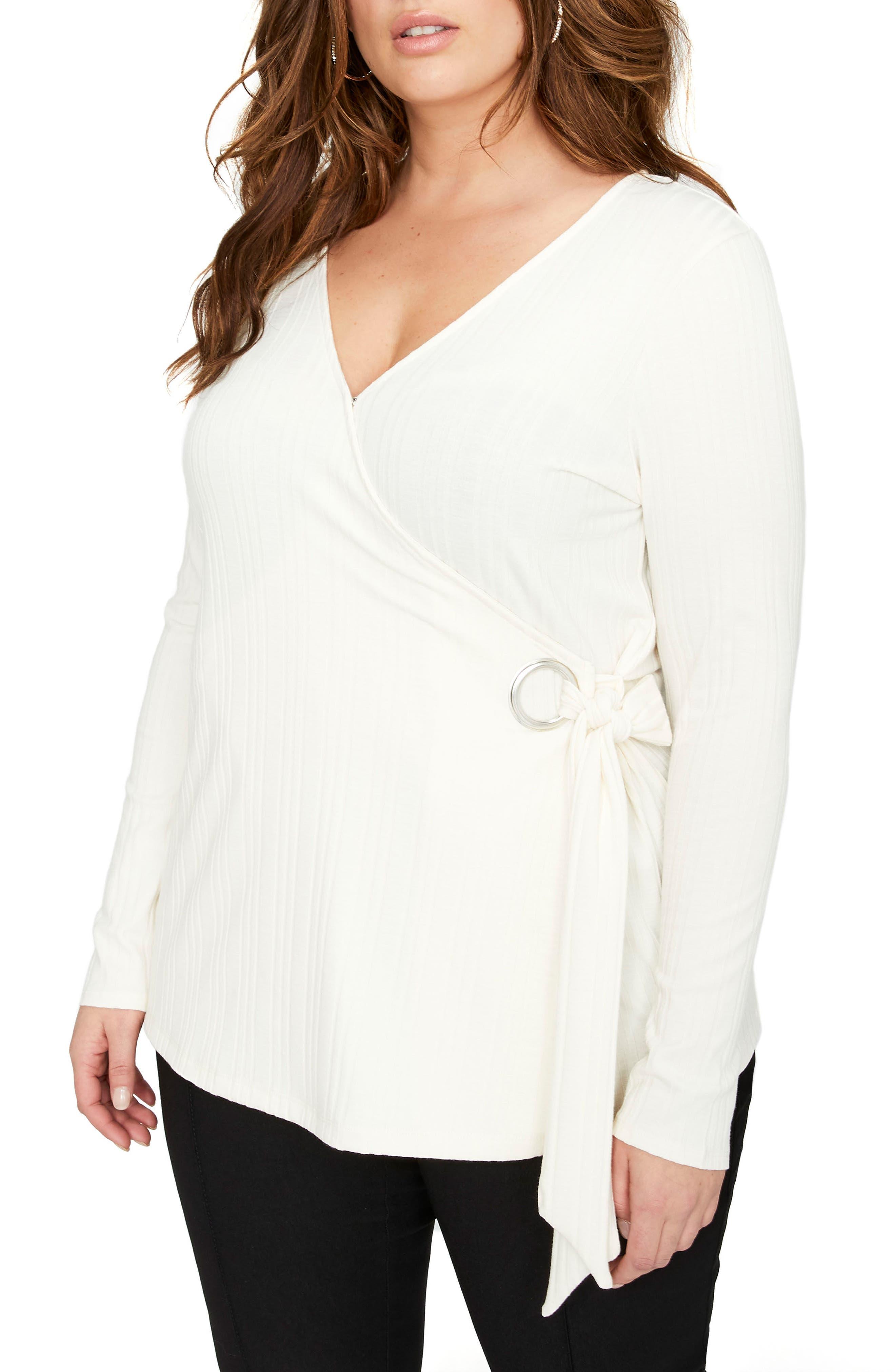 Rib Knit Faux Wrap Top,                         Main,                         color, Antique White