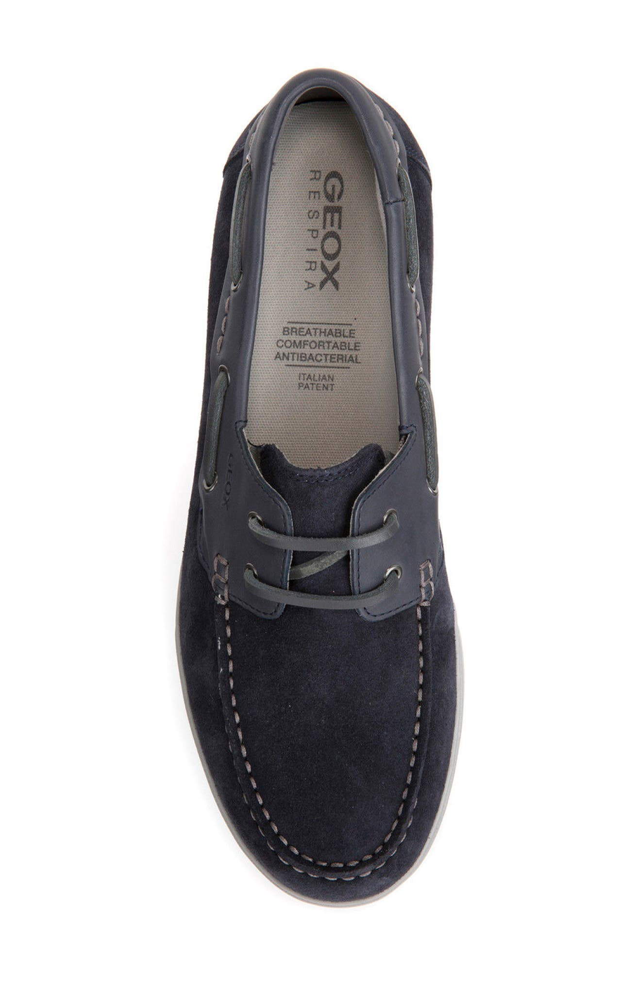 Walee 2 Boat Shoe,                             Alternate thumbnail 5, color,                             Navy Suede/ Leather