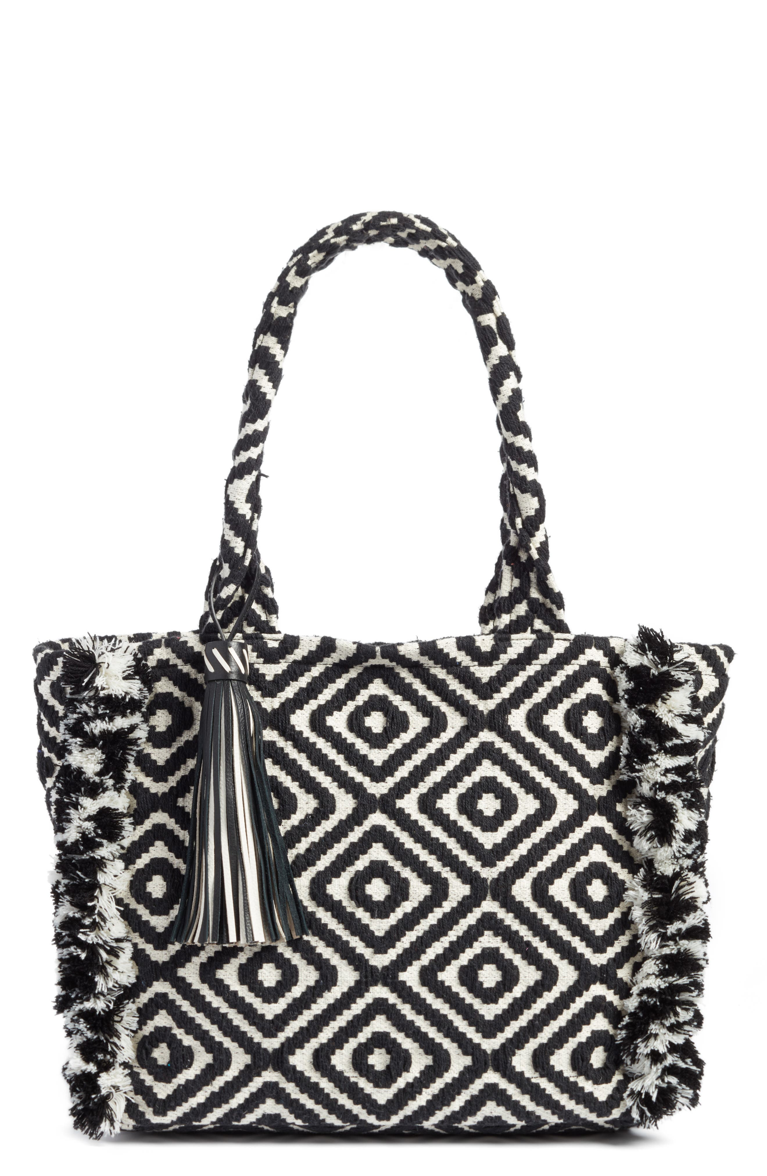 Fringed Woven Tote,                         Main,                         color, Black/ White