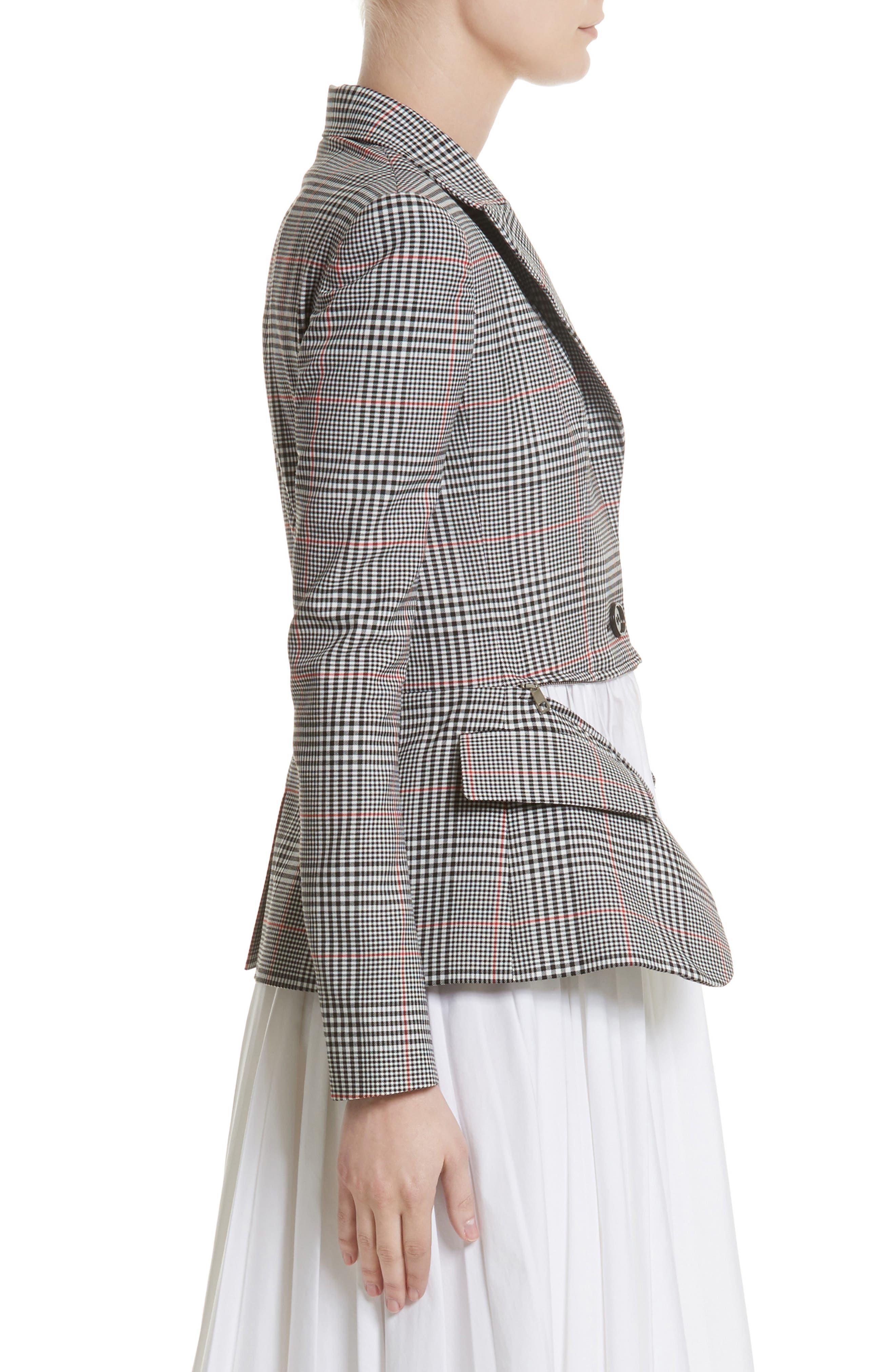 Glen Plaid Jacket Dress,                             Alternate thumbnail 4, color,                             Black