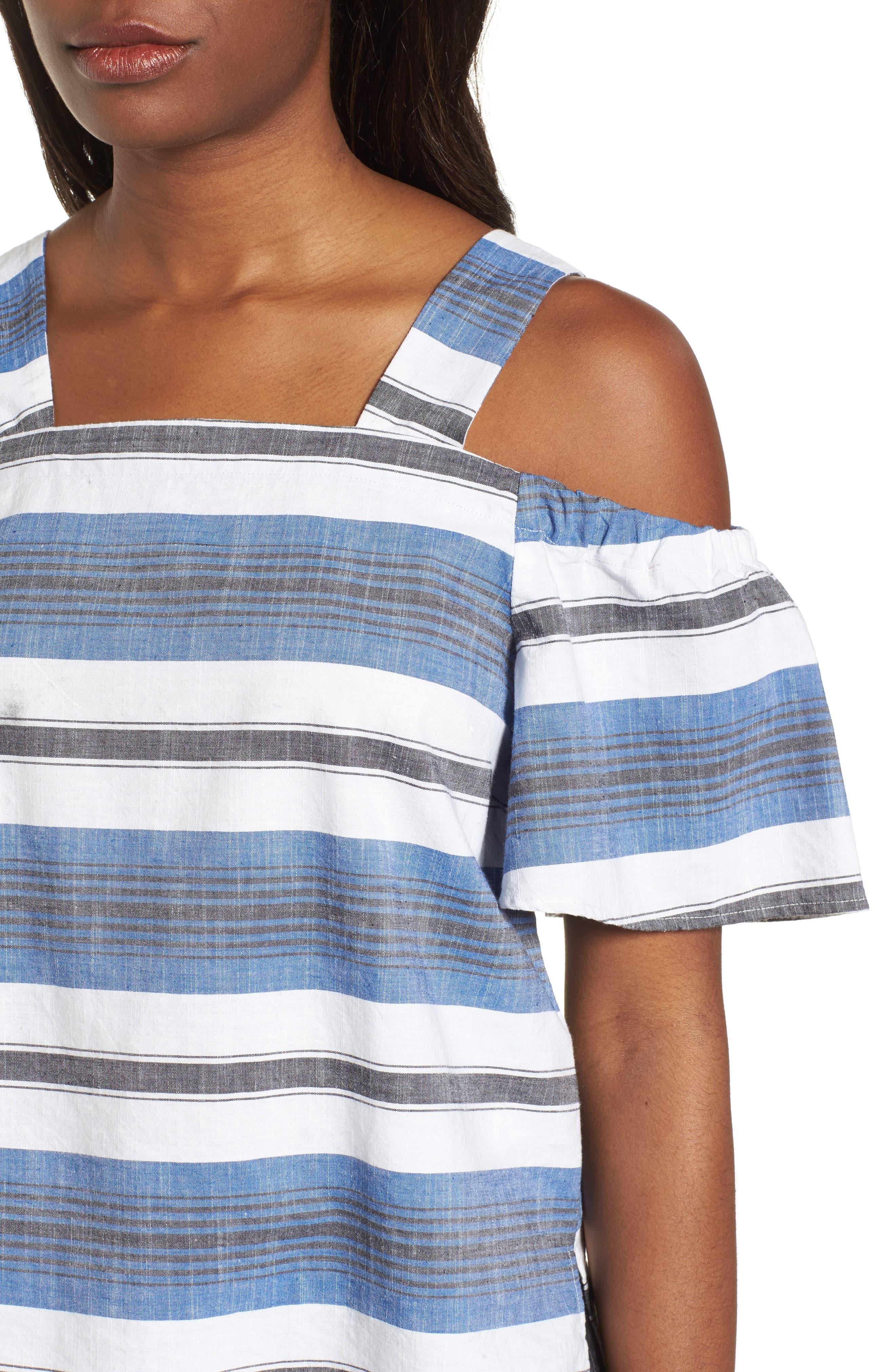 Stripe Cold Shoulder Top,                             Alternate thumbnail 4, color,                             Blue Multi