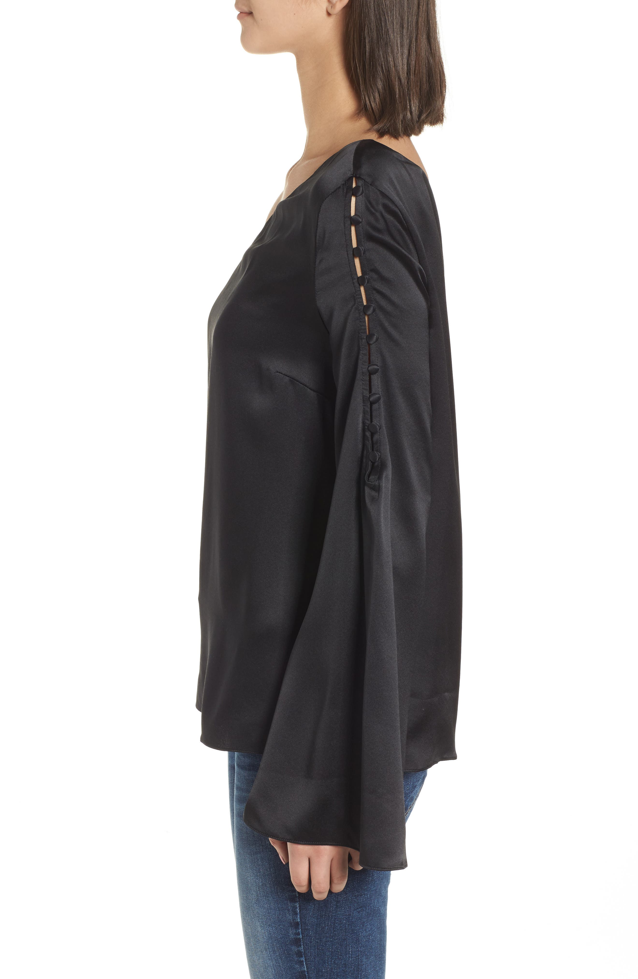 Ripley One-Shoulder Silk Blouse,                             Alternate thumbnail 3, color,                             Black