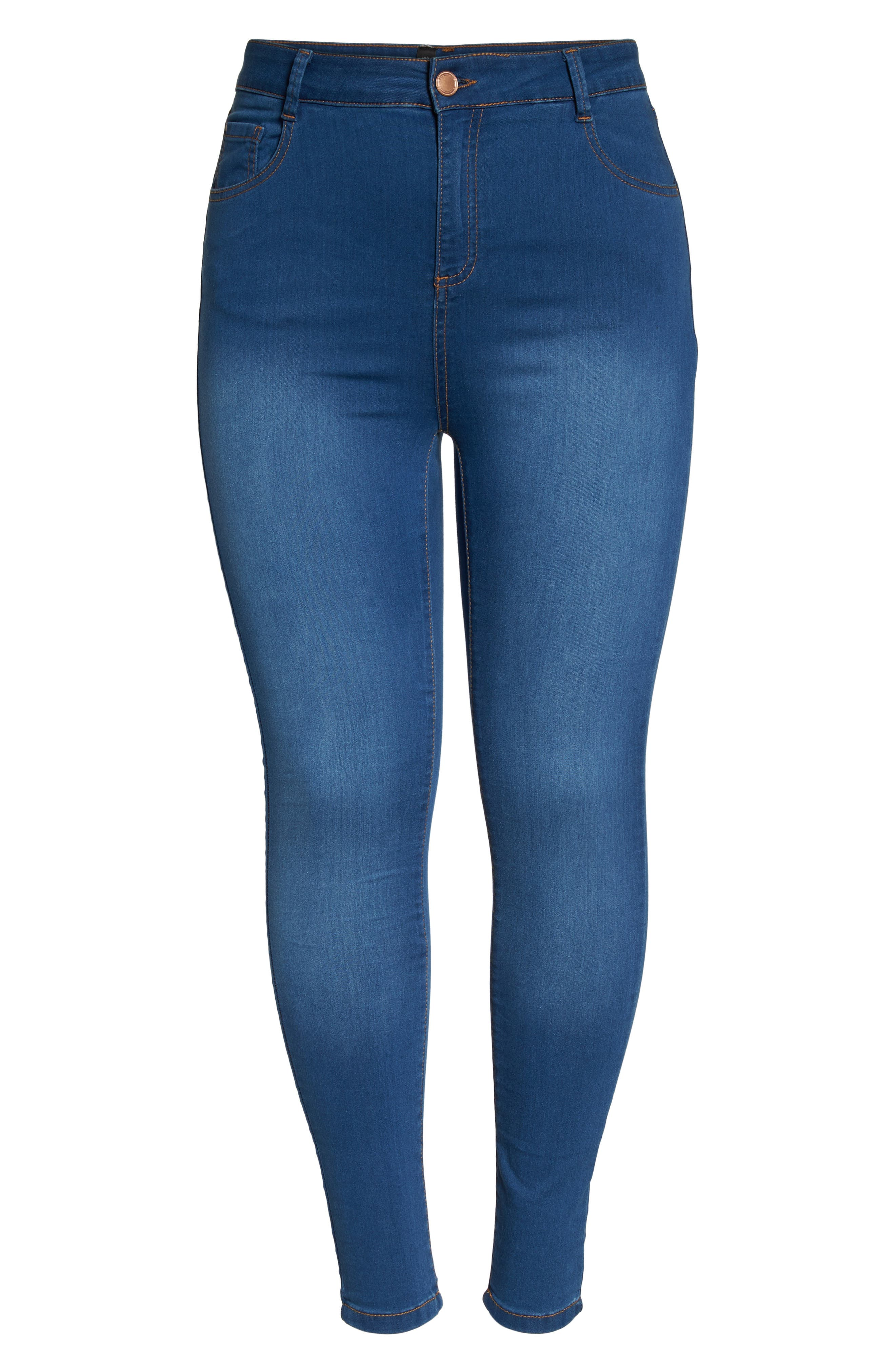 Alternate Image 6  - Evans Skinny Stretch Jeans (Mid Wash) (Plus Size)