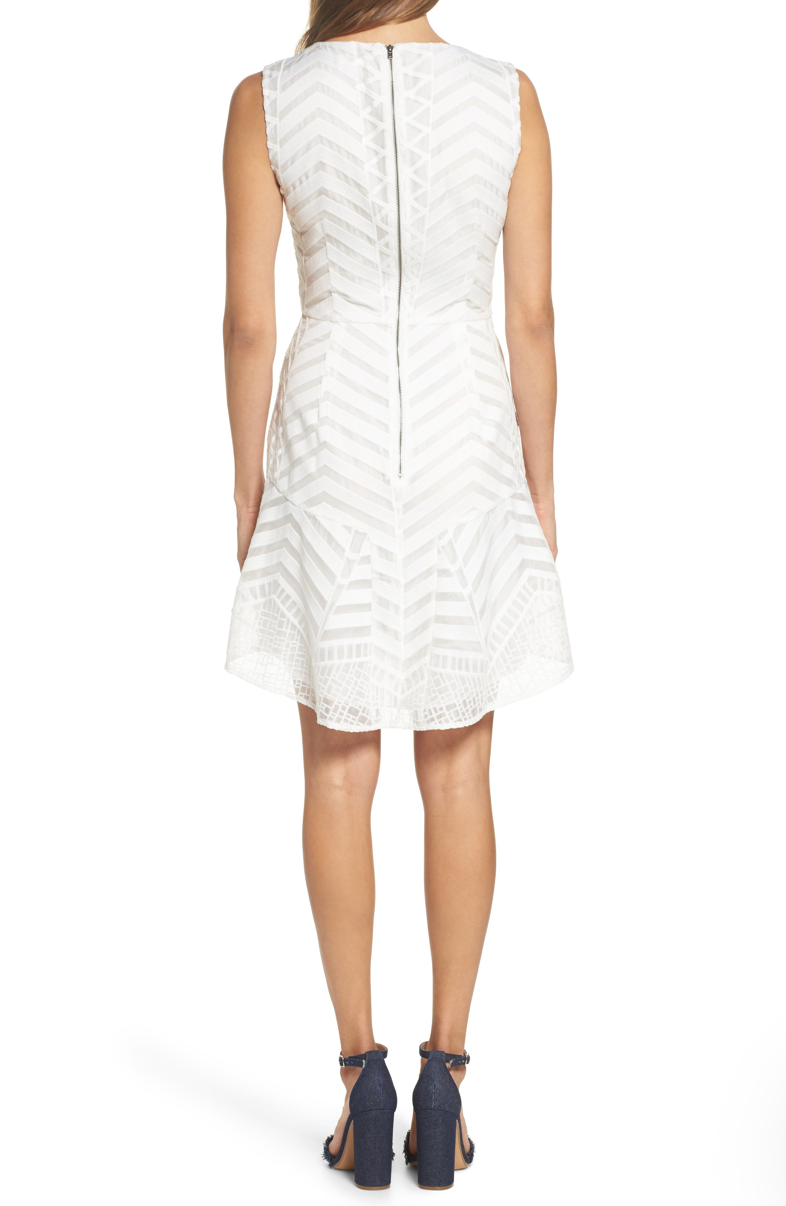 Fit & Flare Dress,                             Alternate thumbnail 2, color,                             White Snow