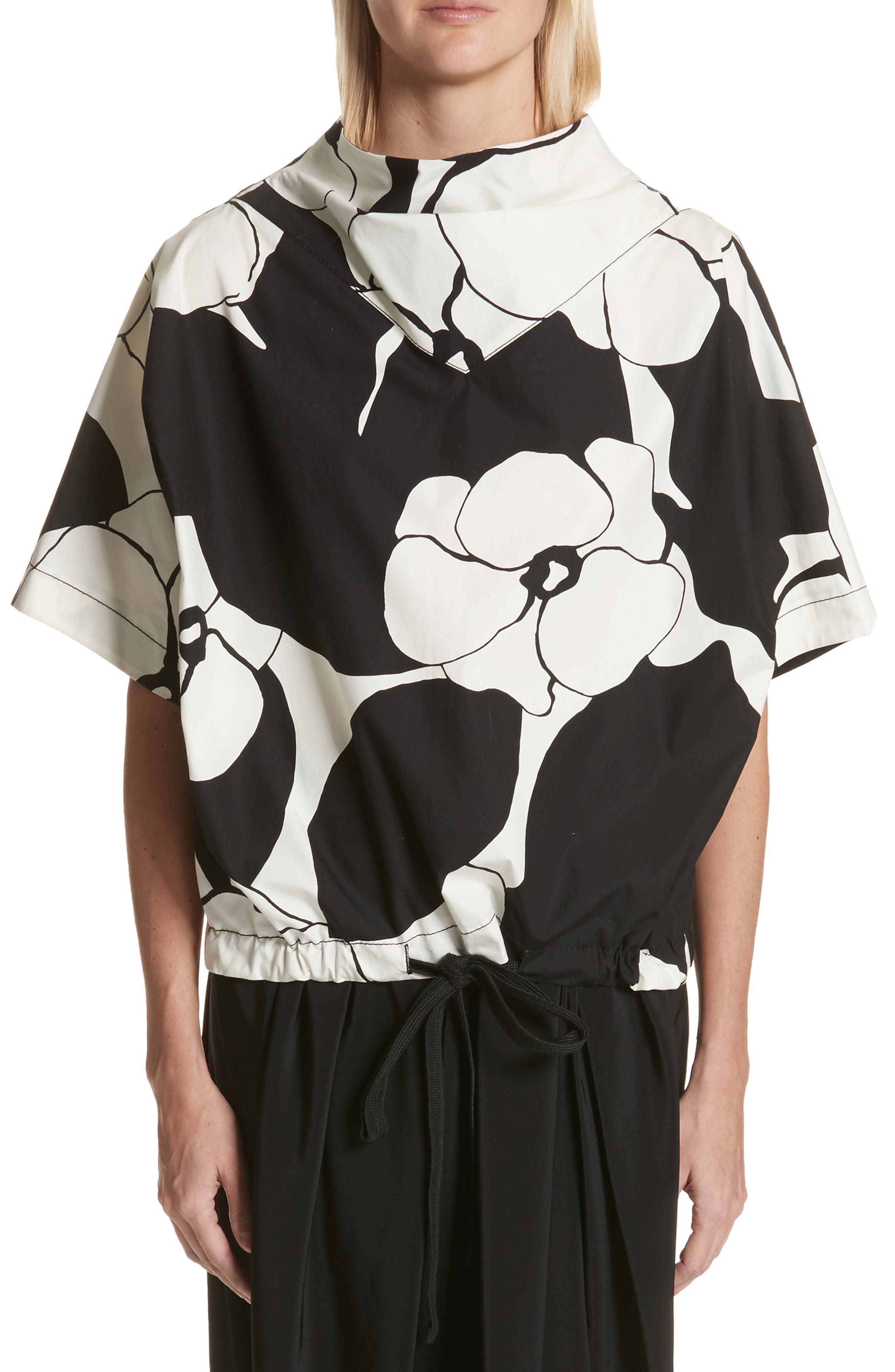 MARC JACOBS Drawstring Hem Floral Print Top