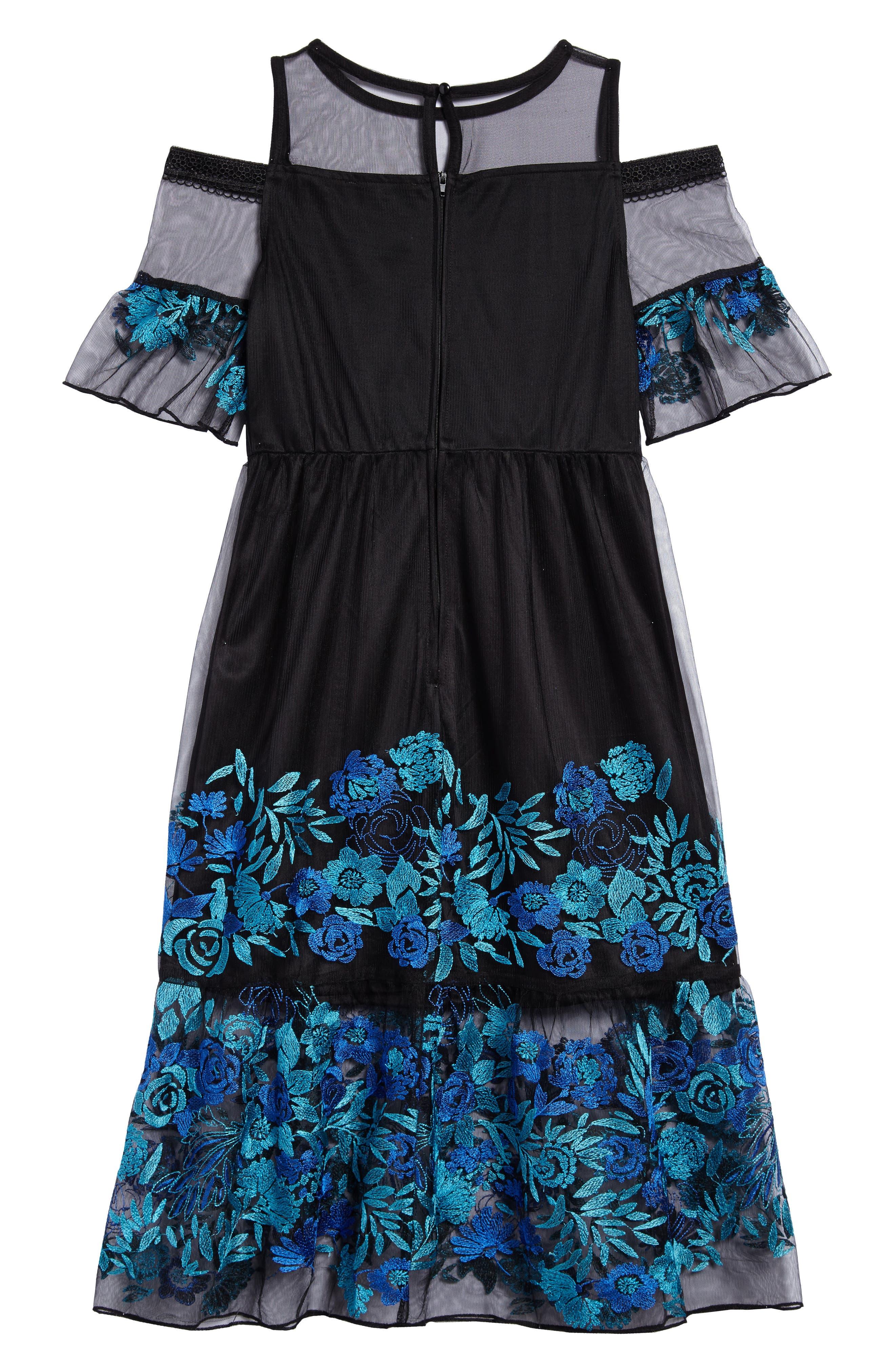 Embroidered Mesh Cold Shoulder Dress,                             Alternate thumbnail 2, color,                             Black