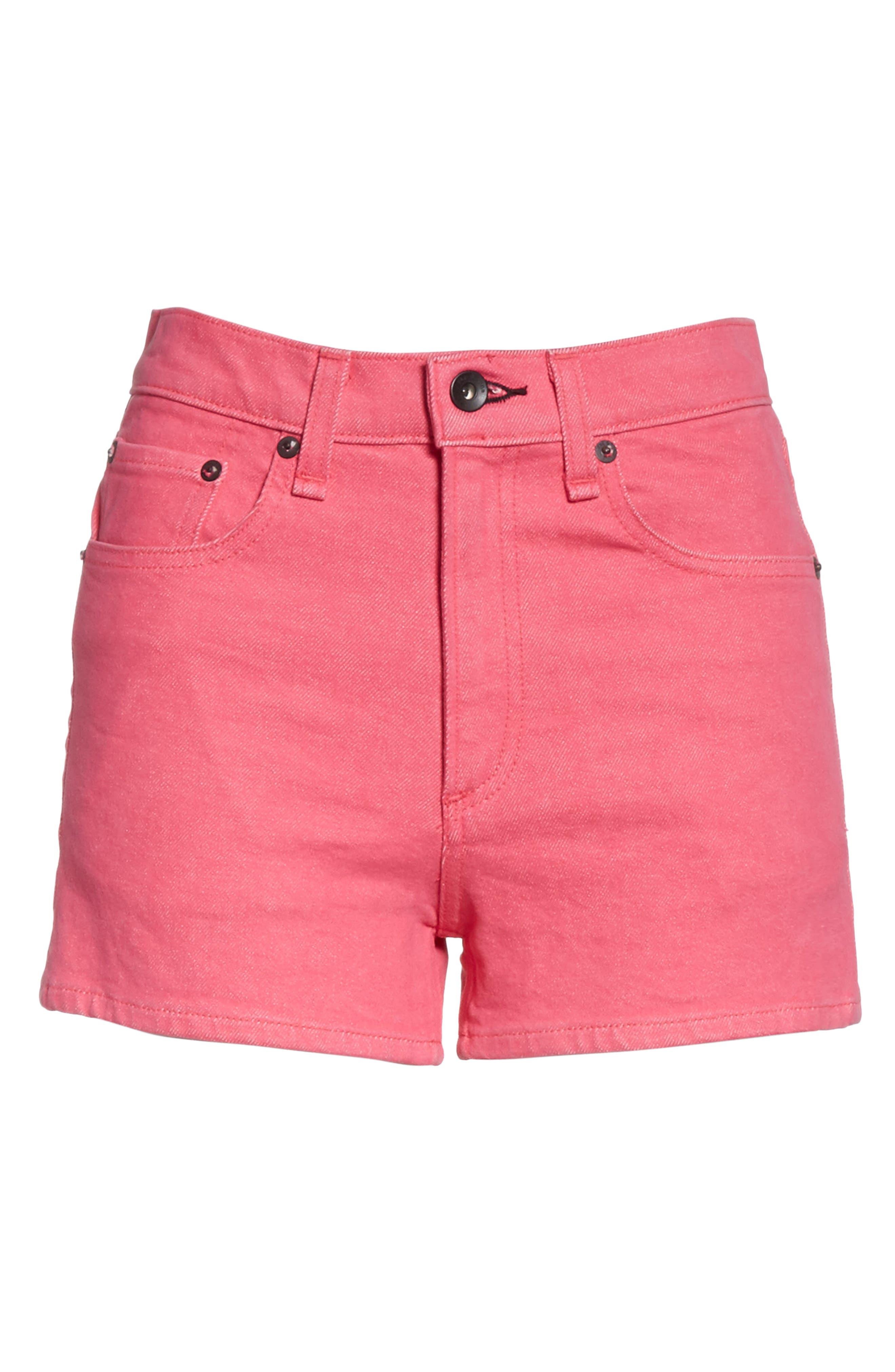 Justine High Waist Denim Shorts,                             Alternate thumbnail 7, color,                             Bull Pink