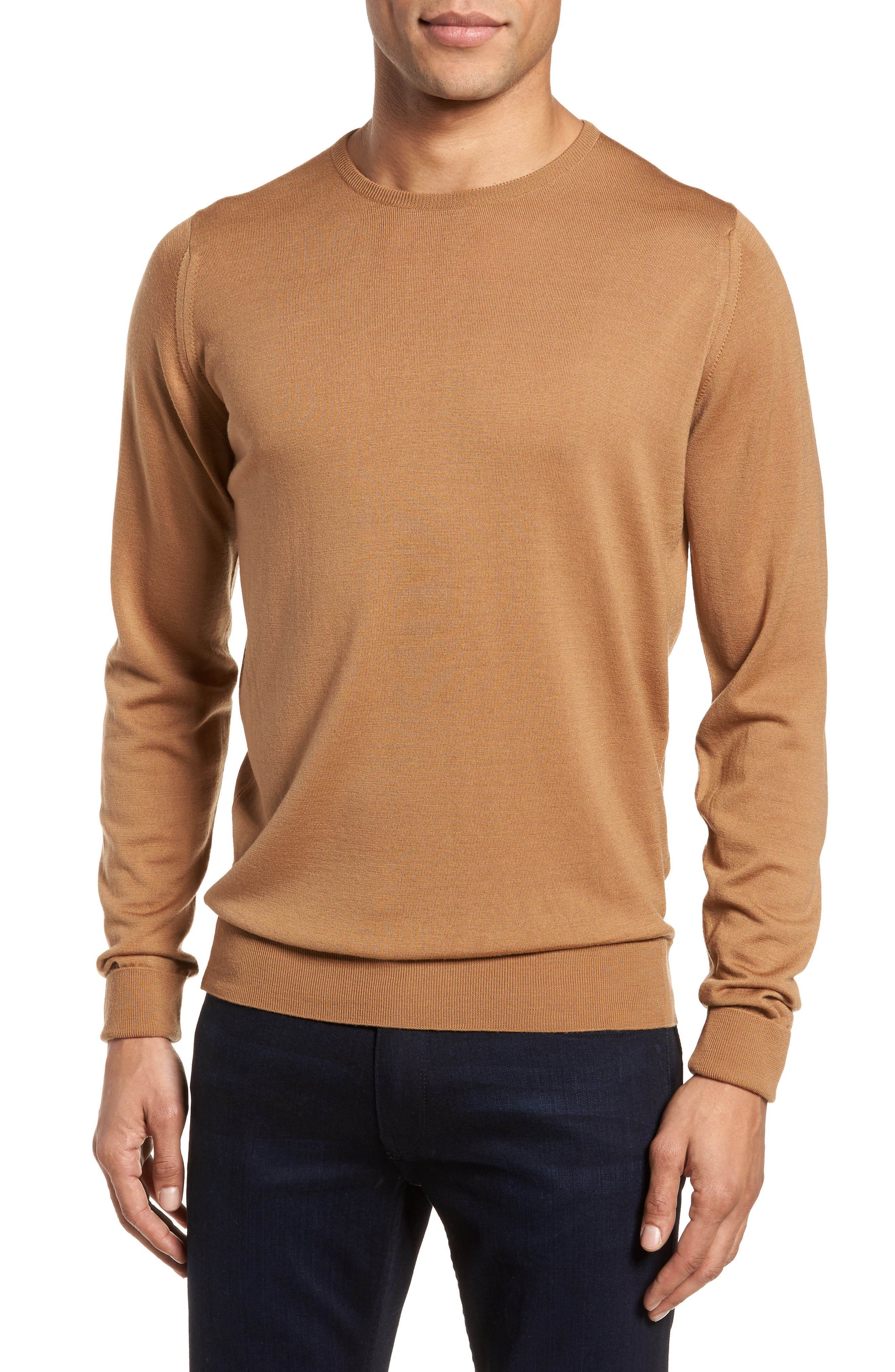 'Marcus' Easy Fit Crewneck Wool Sweater,                             Main thumbnail 1, color,                             Camel