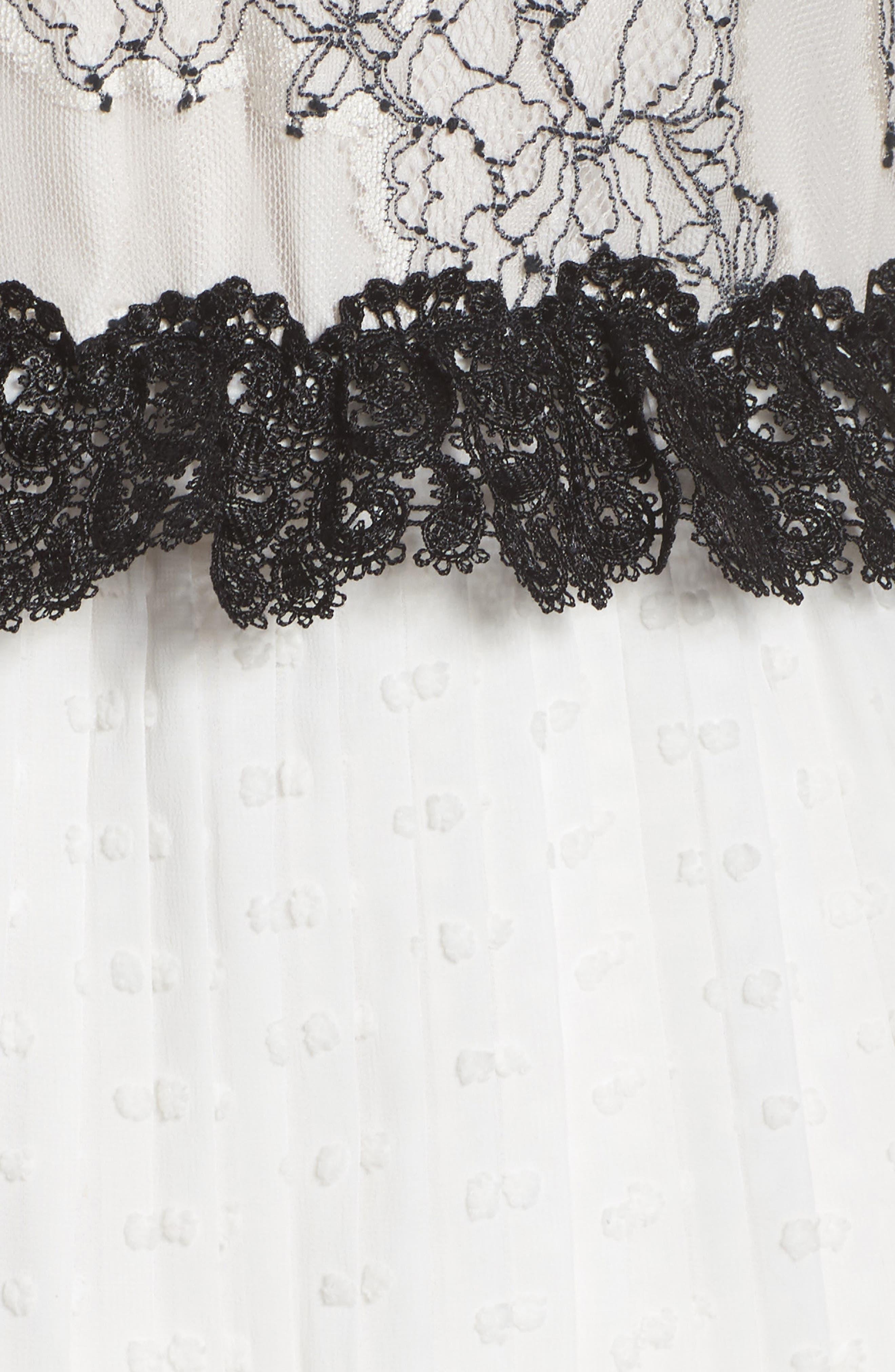 Melita Tiered Lace Dress,                             Alternate thumbnail 5, color,                             White W/ Black Lace
