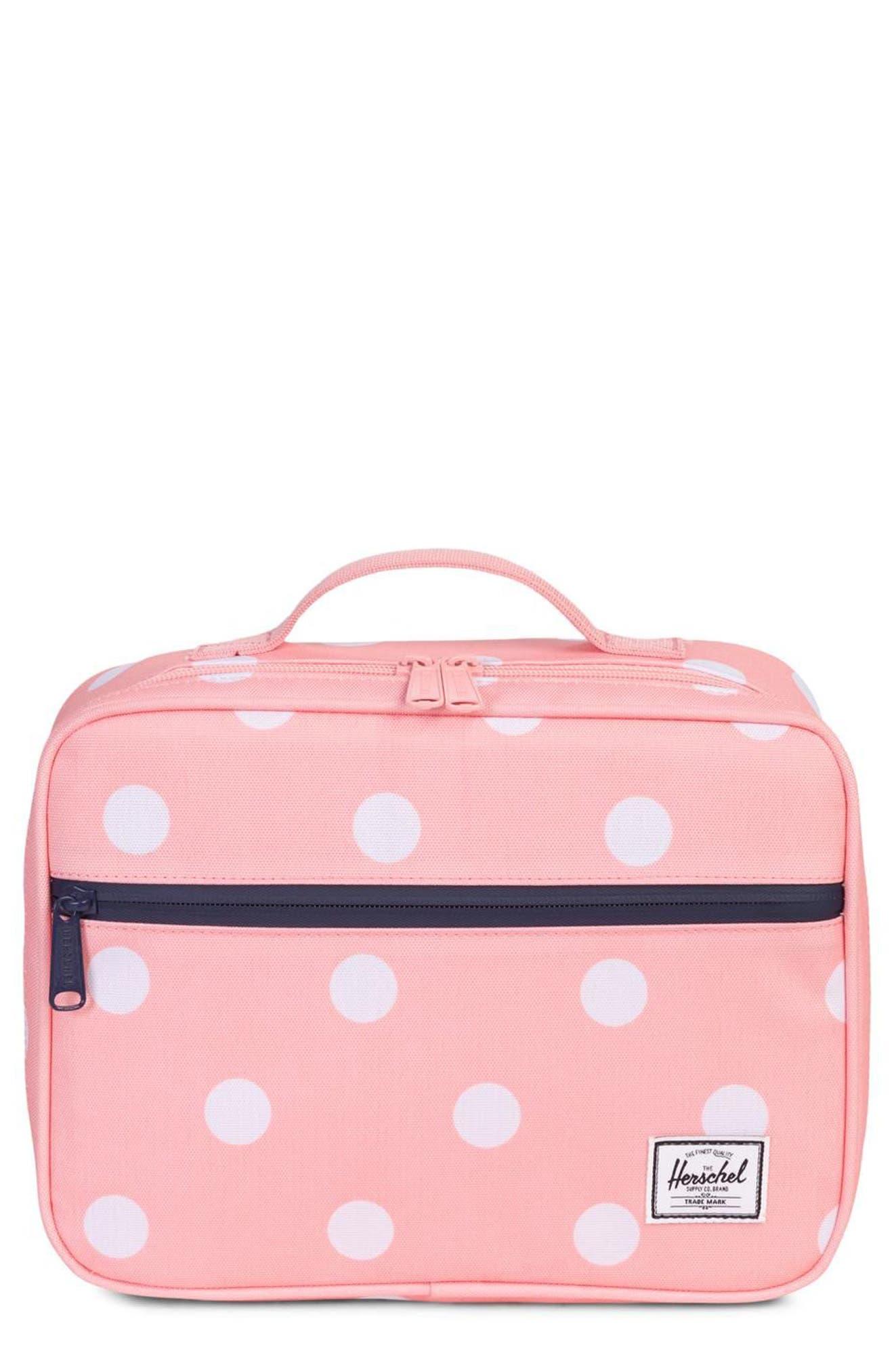 Pop Quiz Lunchbox,                         Main,                         color, Peach Polka Dot/ Peacoat