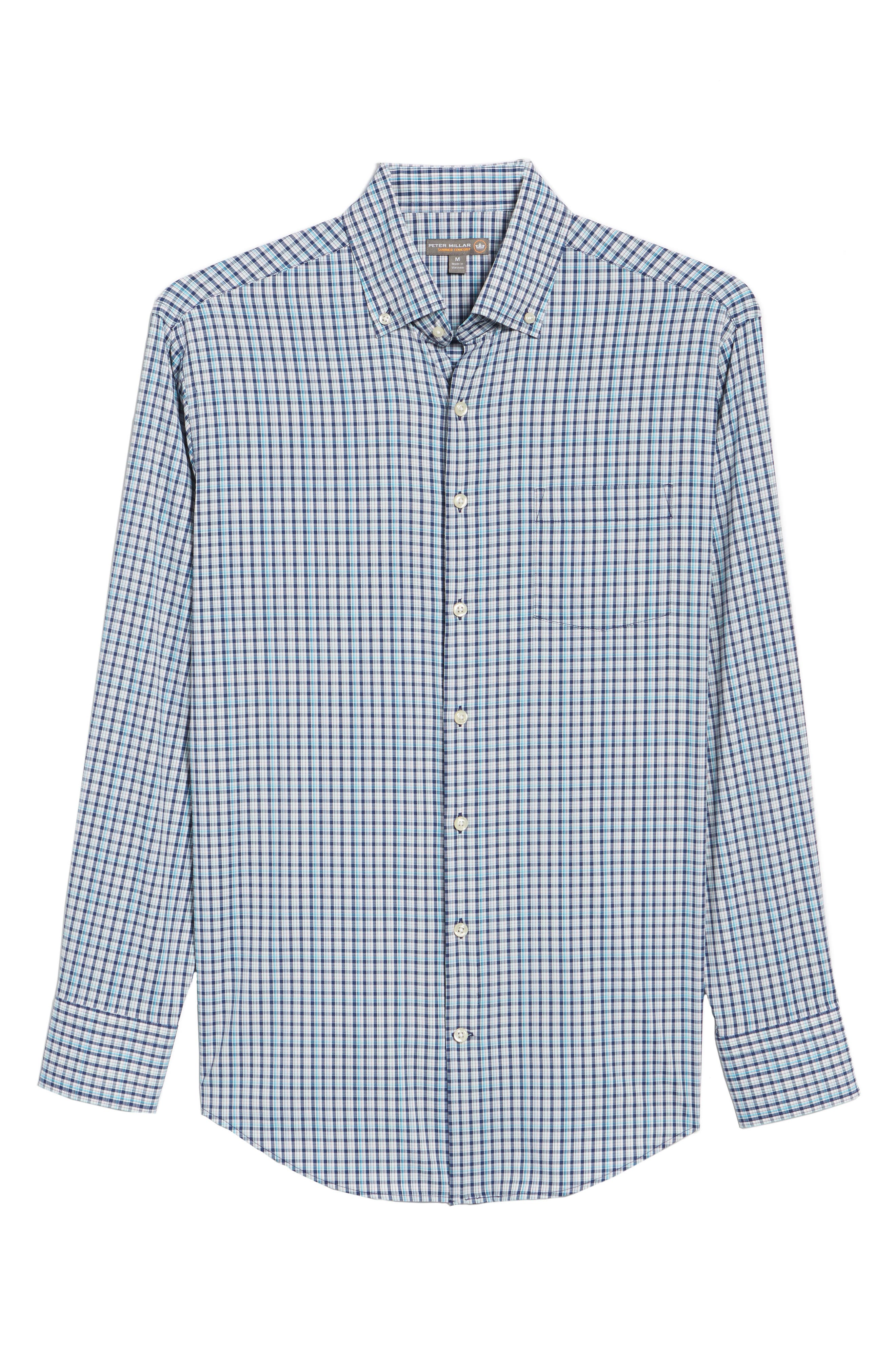 Jojo Check Performance Sport Shirt,                             Alternate thumbnail 6, color,                             Yankee Blue