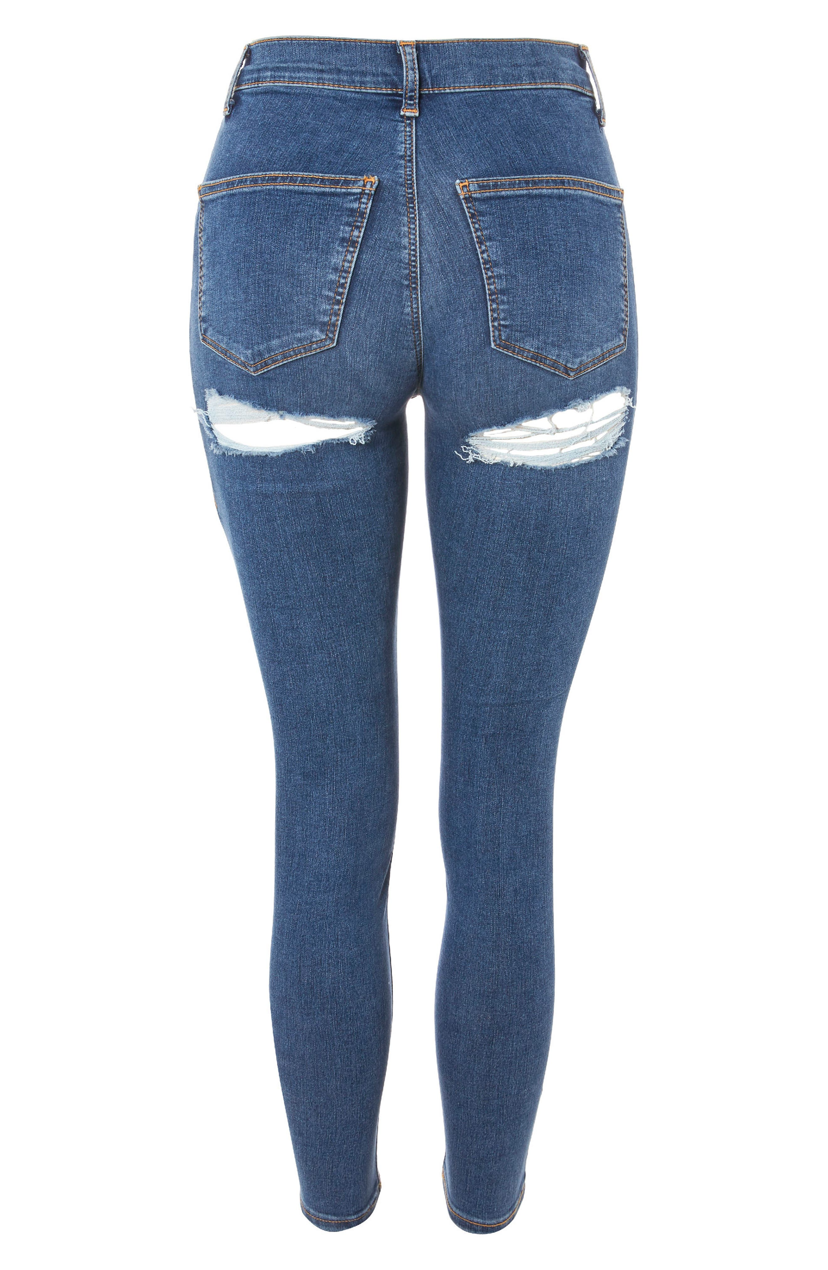 Joni Distressed Skinny Jeans,                             Alternate thumbnail 3, color,                             Mid Denim