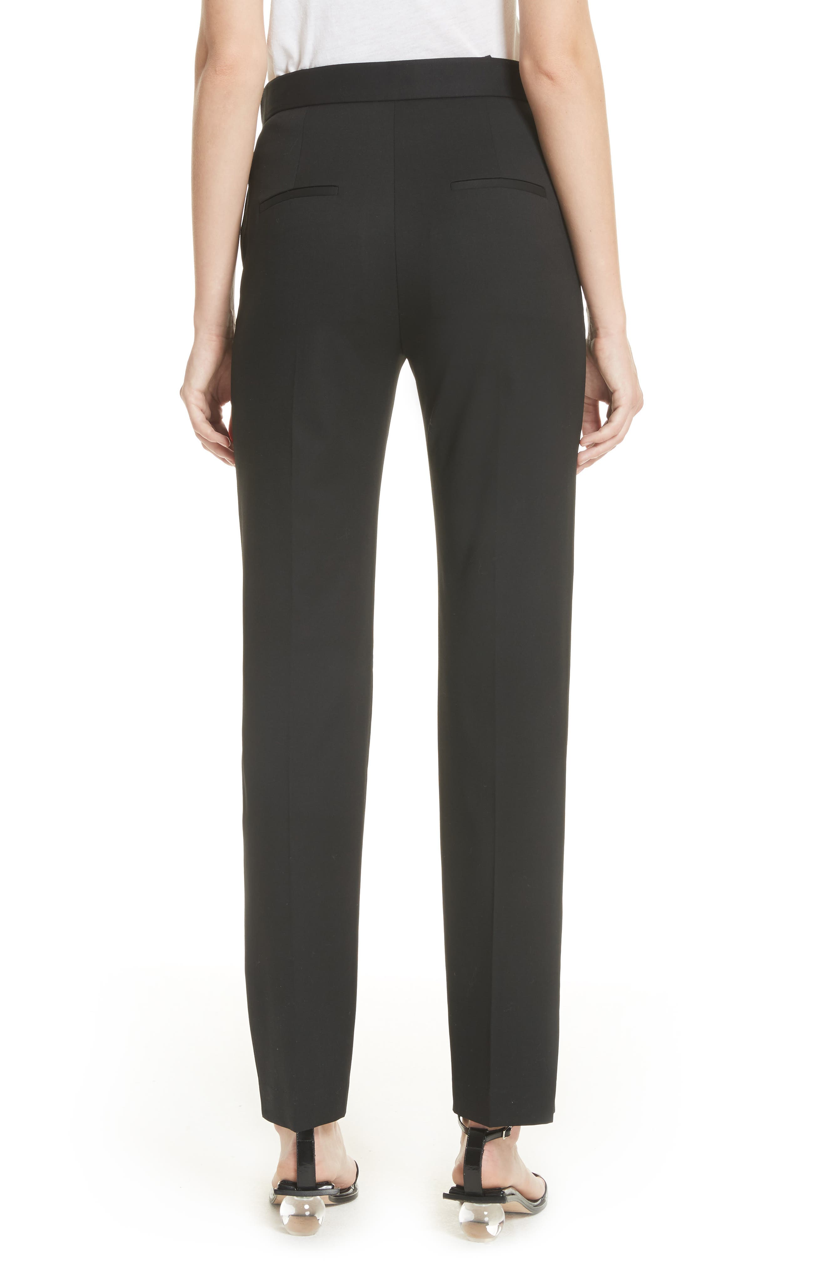 Straight Leg Wool Trousers,                             Alternate thumbnail 2, color,                             Black
