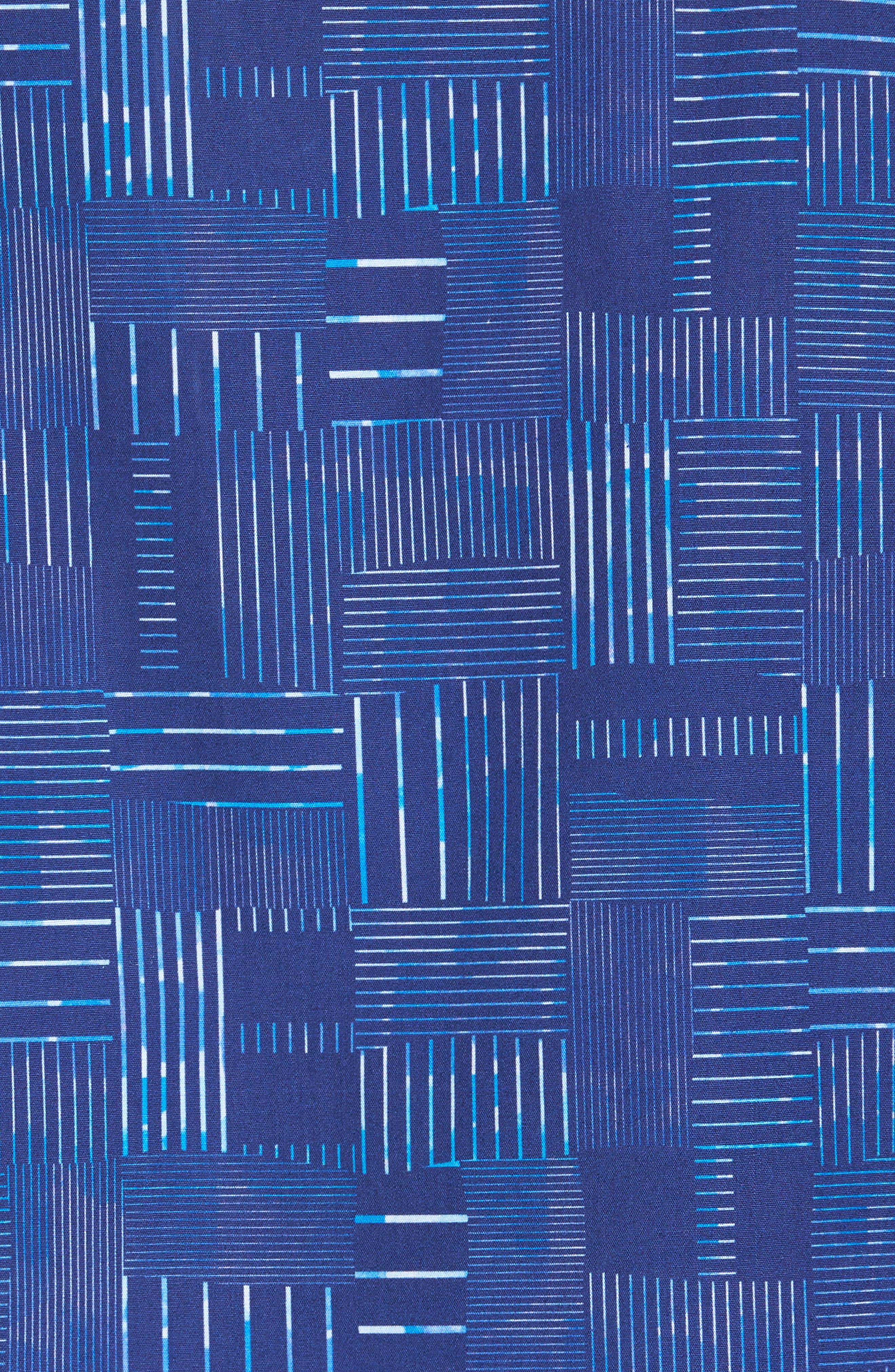 Shaped Fit Patchwork Plaid Sport Shirt,                             Alternate thumbnail 5, color,                             Classic Blue