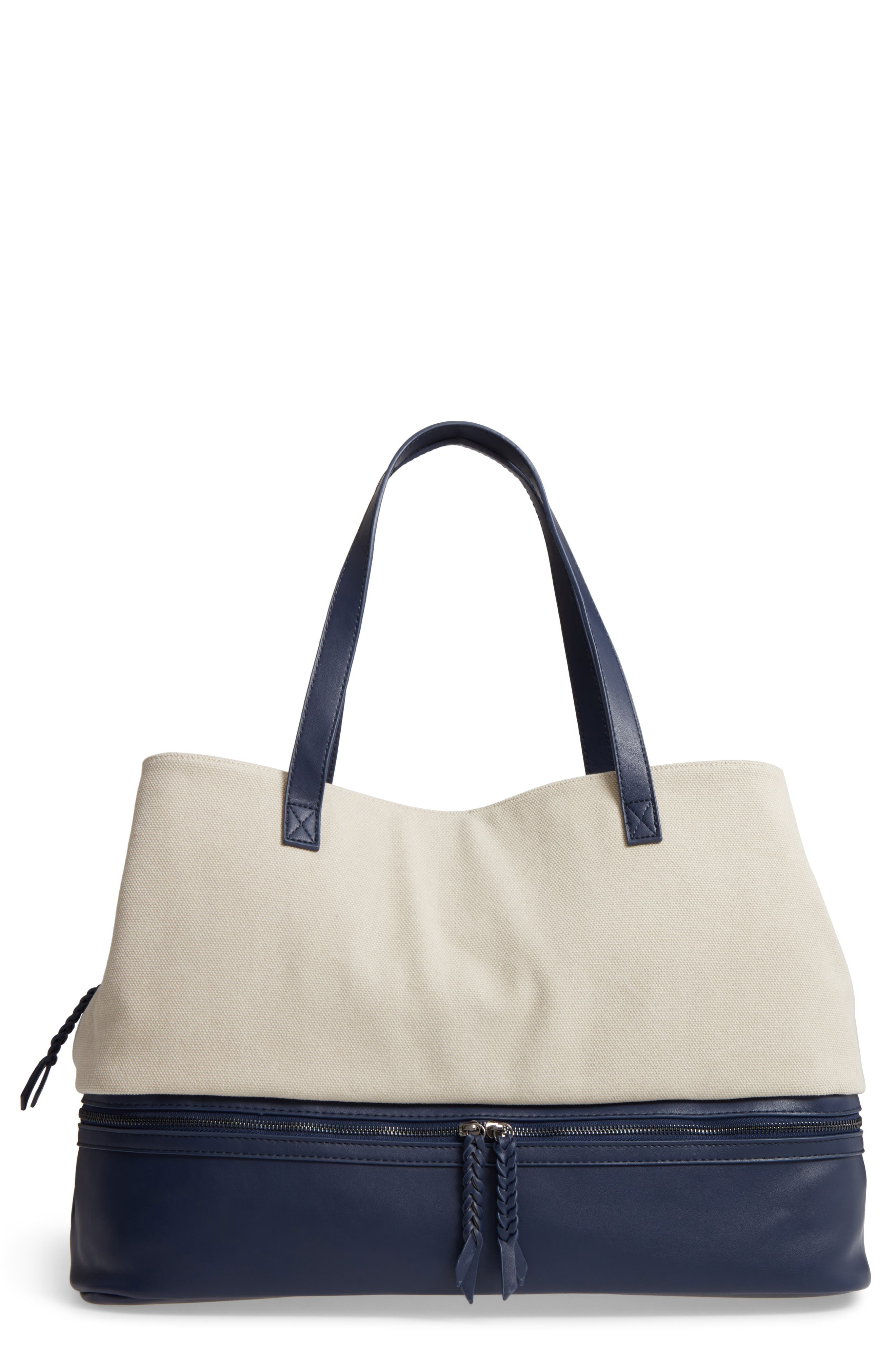 Two Toned Weekender Bag,                         Main,                         color, Cream/ Navy