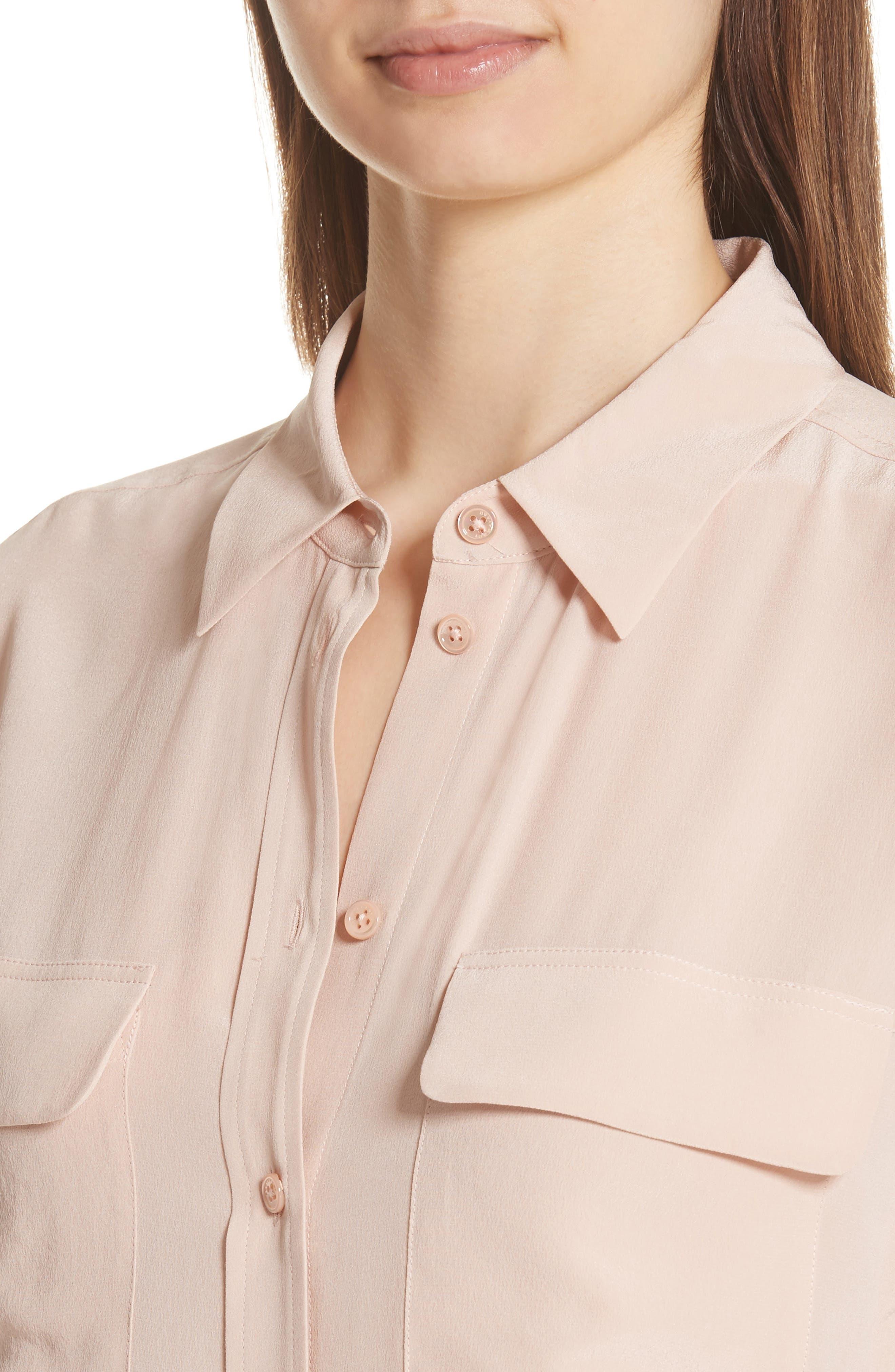 'Slim Signature' Silk Shirt,                             Alternate thumbnail 4, color,                             French Nude