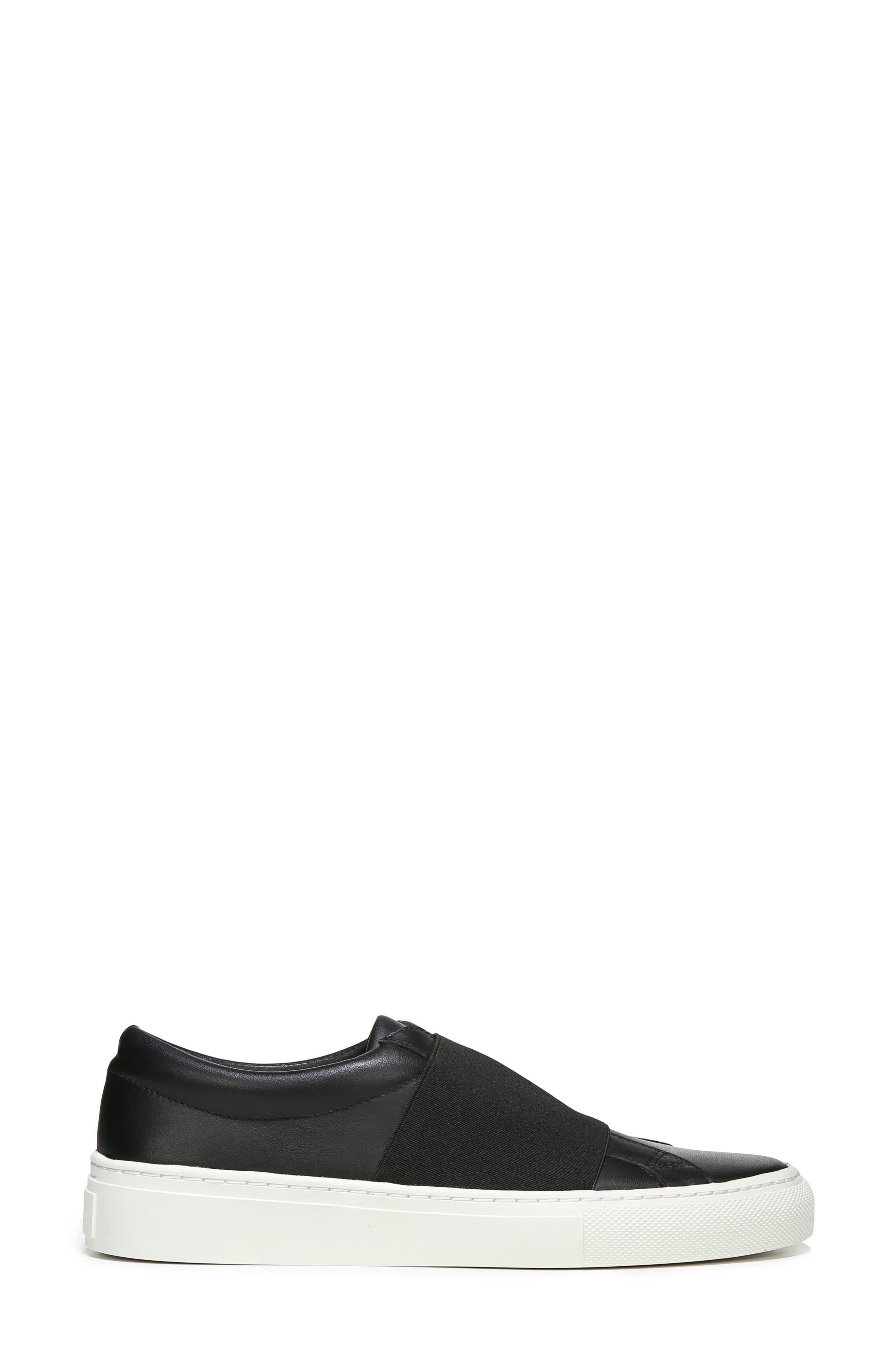 Saran Slip-On Sneaker,                             Alternate thumbnail 3, color,                             Black/ Black Leather