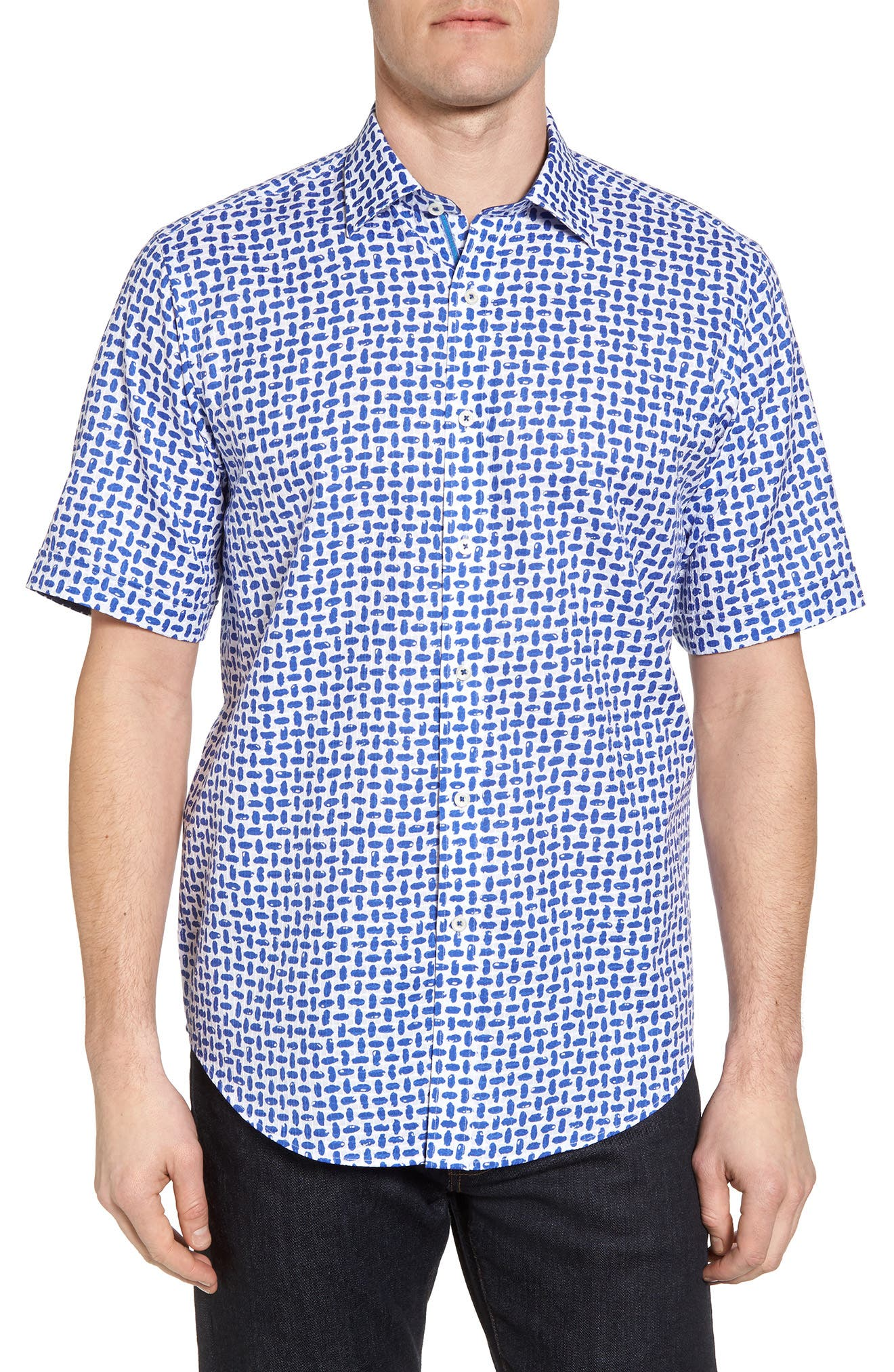 Classic Fit Woven Sport Shirt,                         Main,                         color, Royal