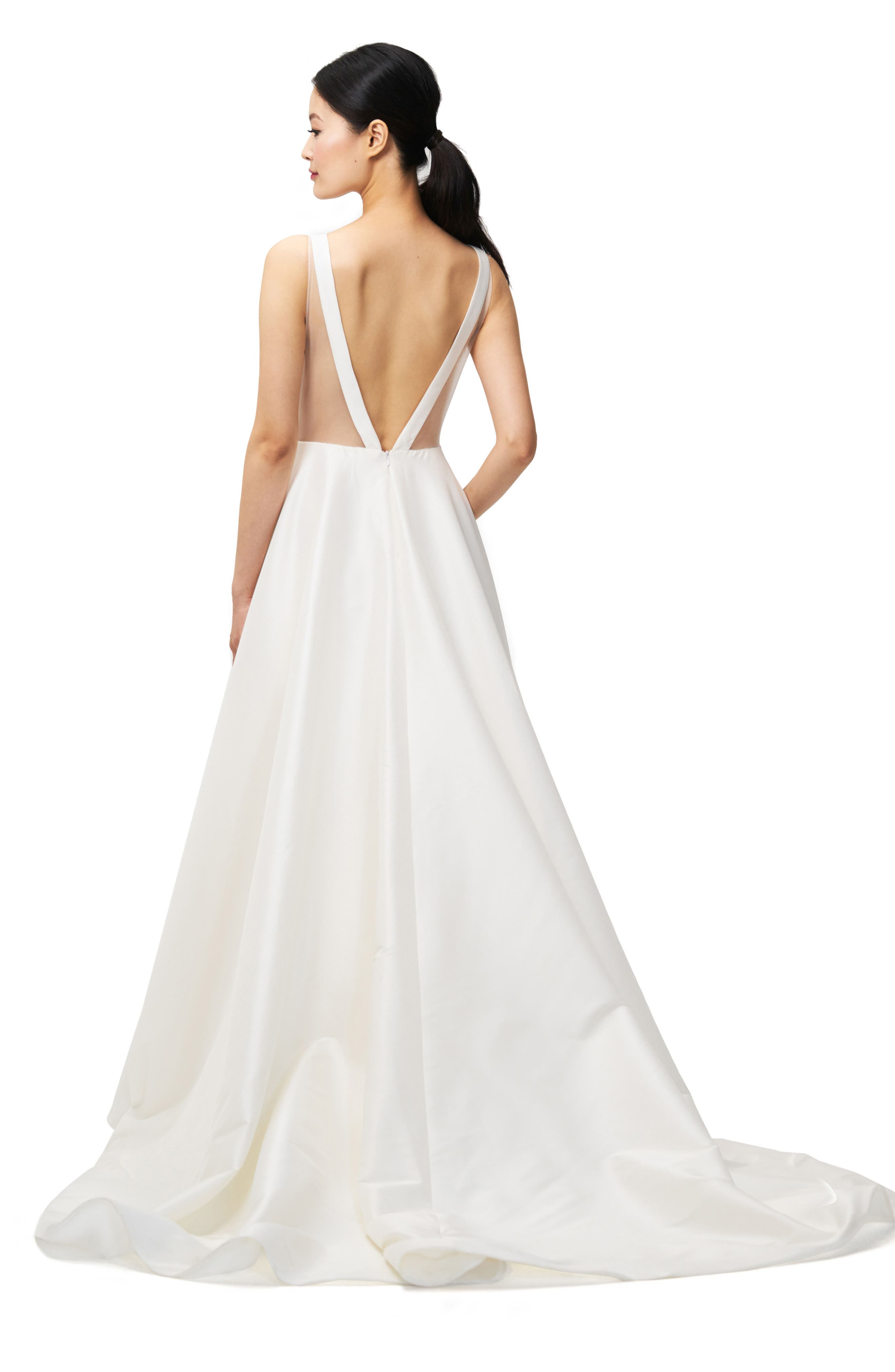 Ashton Plunge Back A-Line Gown,                             Alternate thumbnail 2, color,                             Ivory