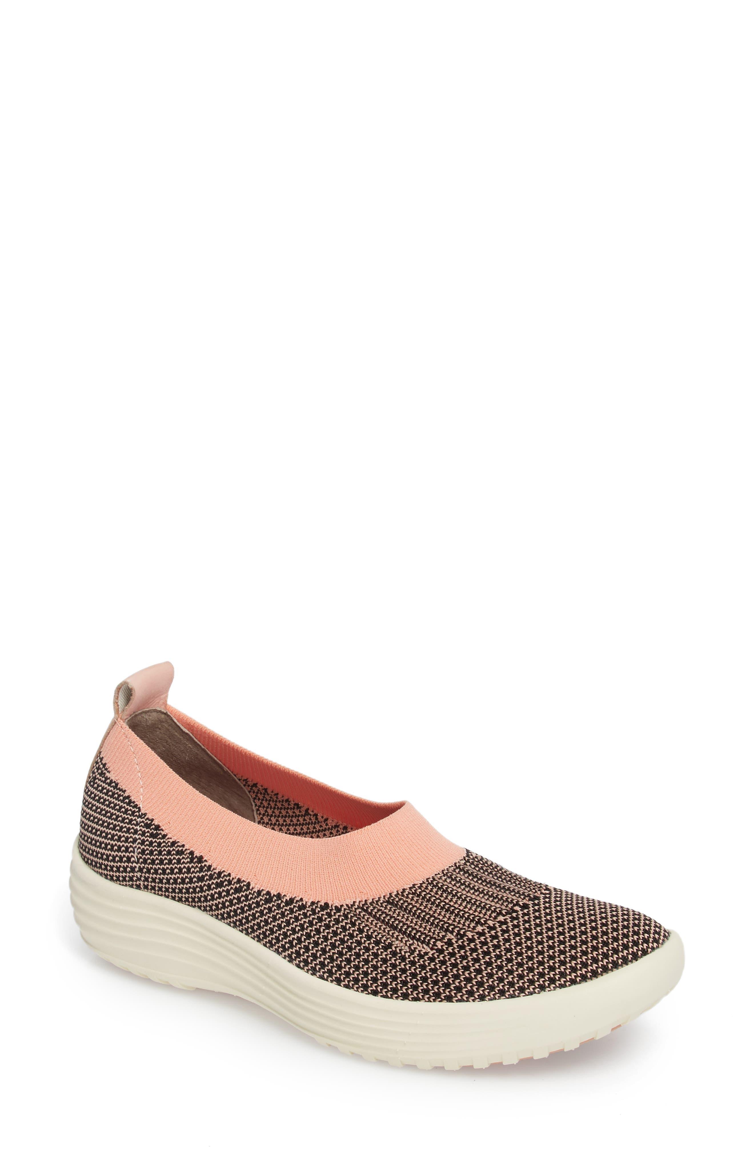 Merigold Slip-On Sock Fit Sneaker,                             Main thumbnail 1, color,                             Pink/ Black Knit Fabric