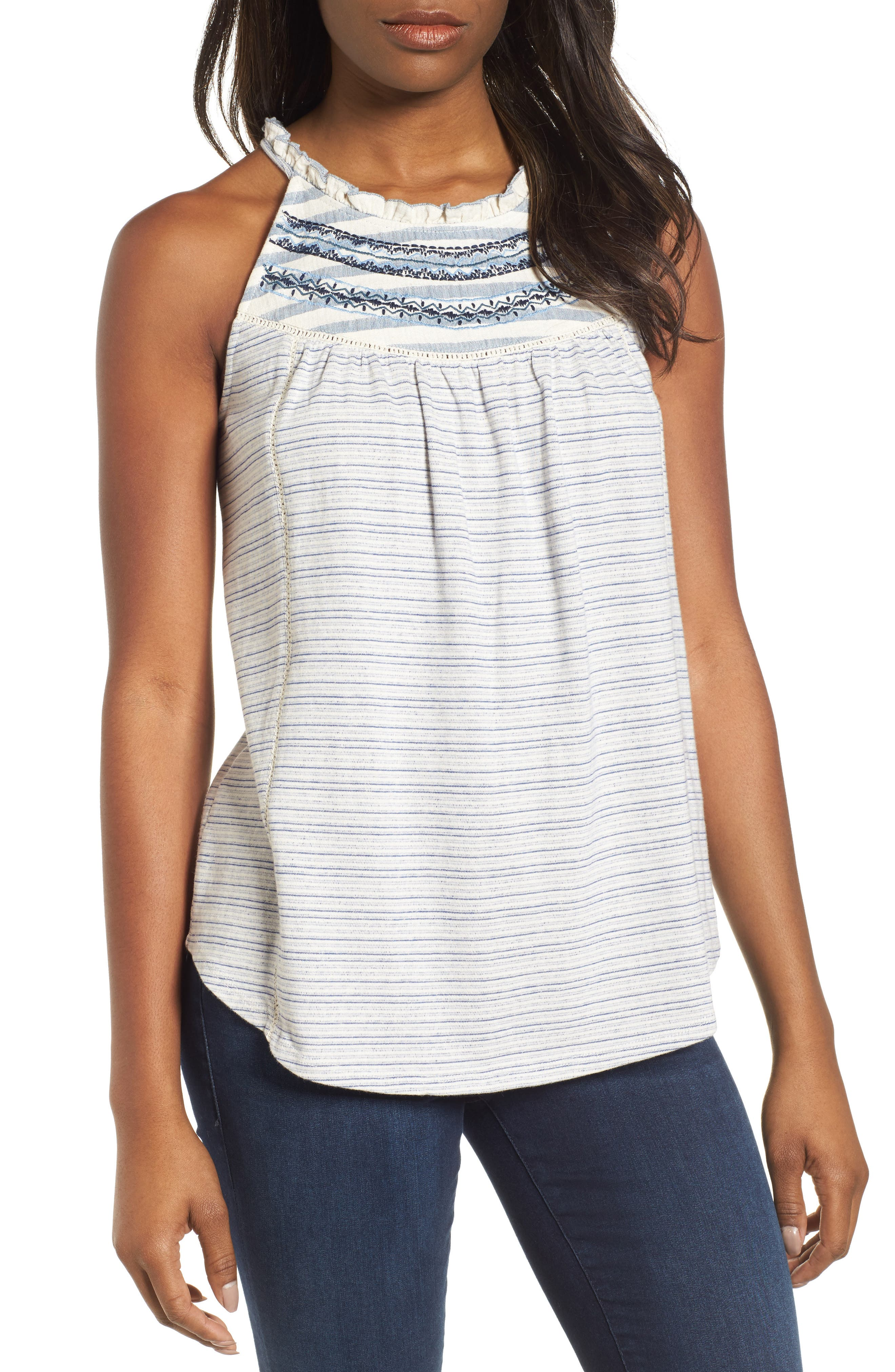 Stripe Mix Embroidered Tank,                             Main thumbnail 1, color,                             Blue/ White Stripe