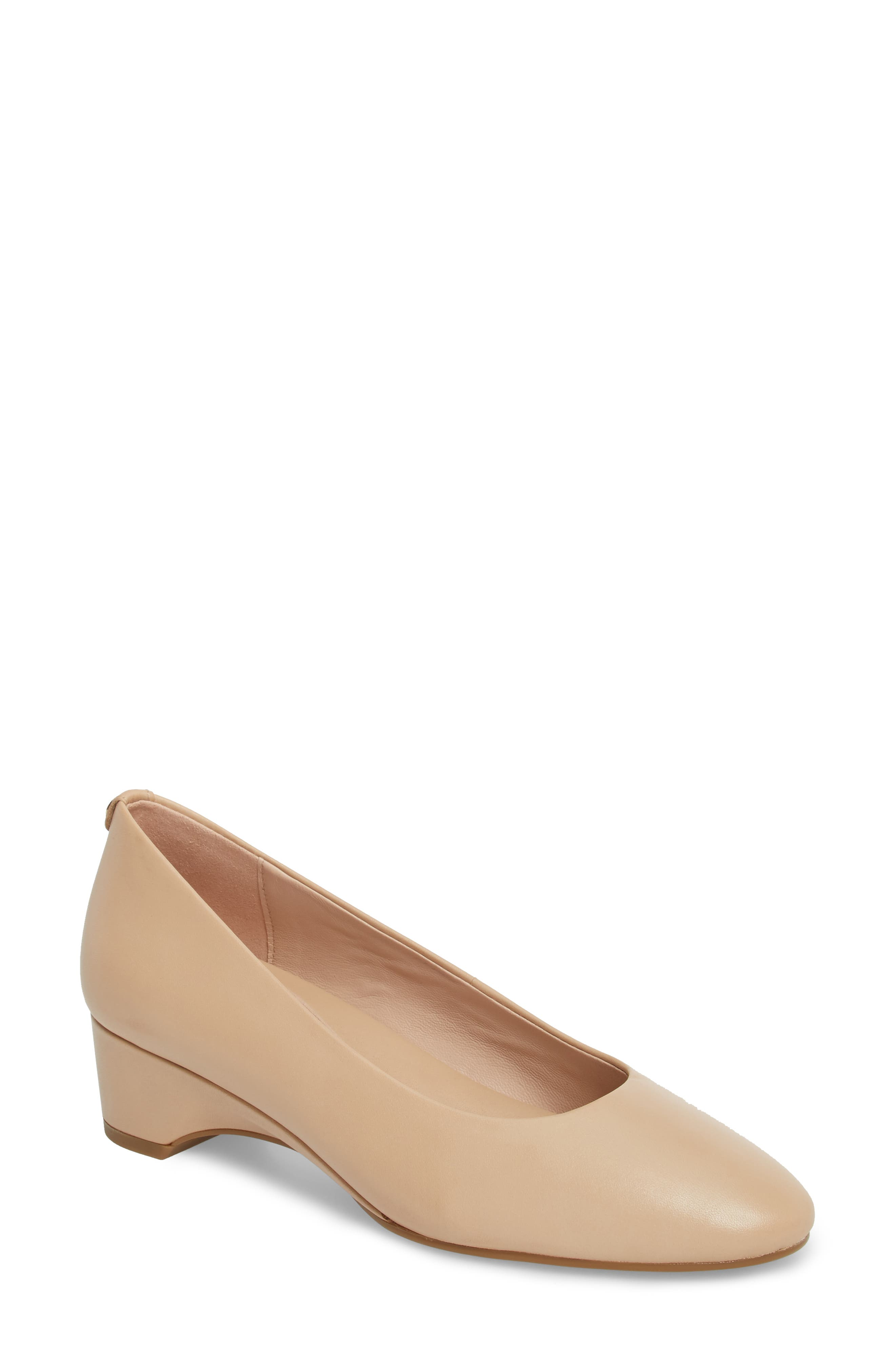 Babs Wedge Pump,                         Main,                         color, Sand Leather