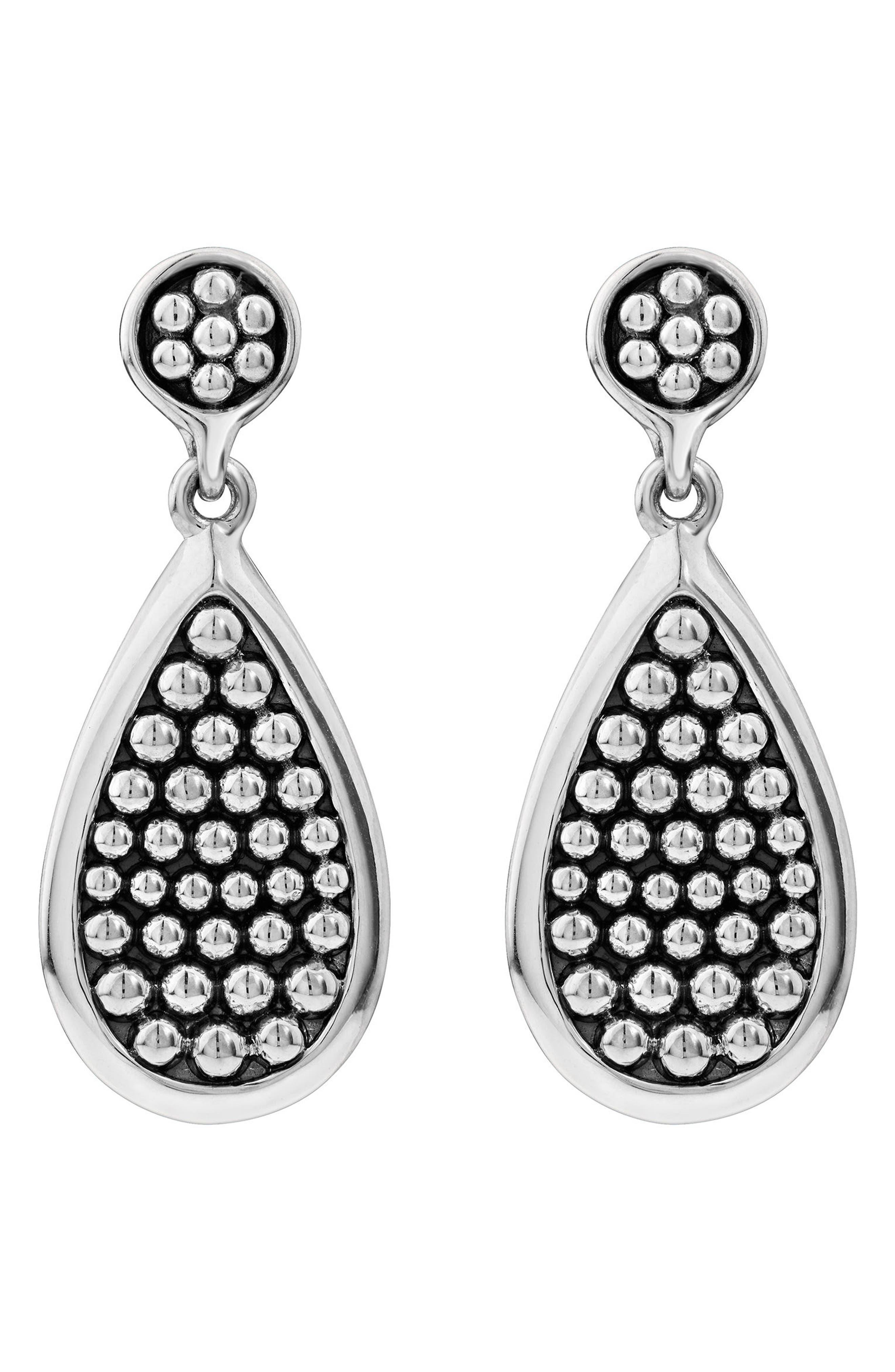 Bold Caviar Medium Flat Drop Earrings,                             Alternate thumbnail 2, color,                             Silver