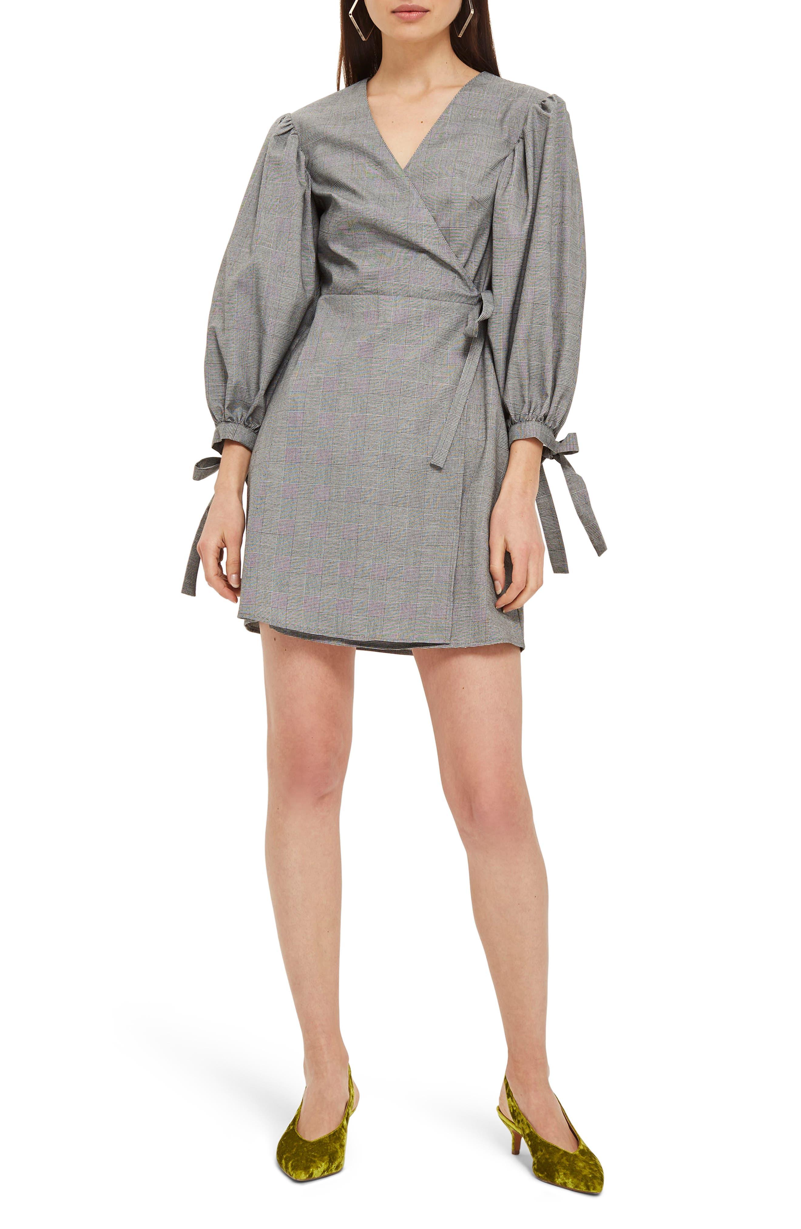 Tie Cuff Wrap Minidress,                             Main thumbnail 1, color,                             Grey Multi
