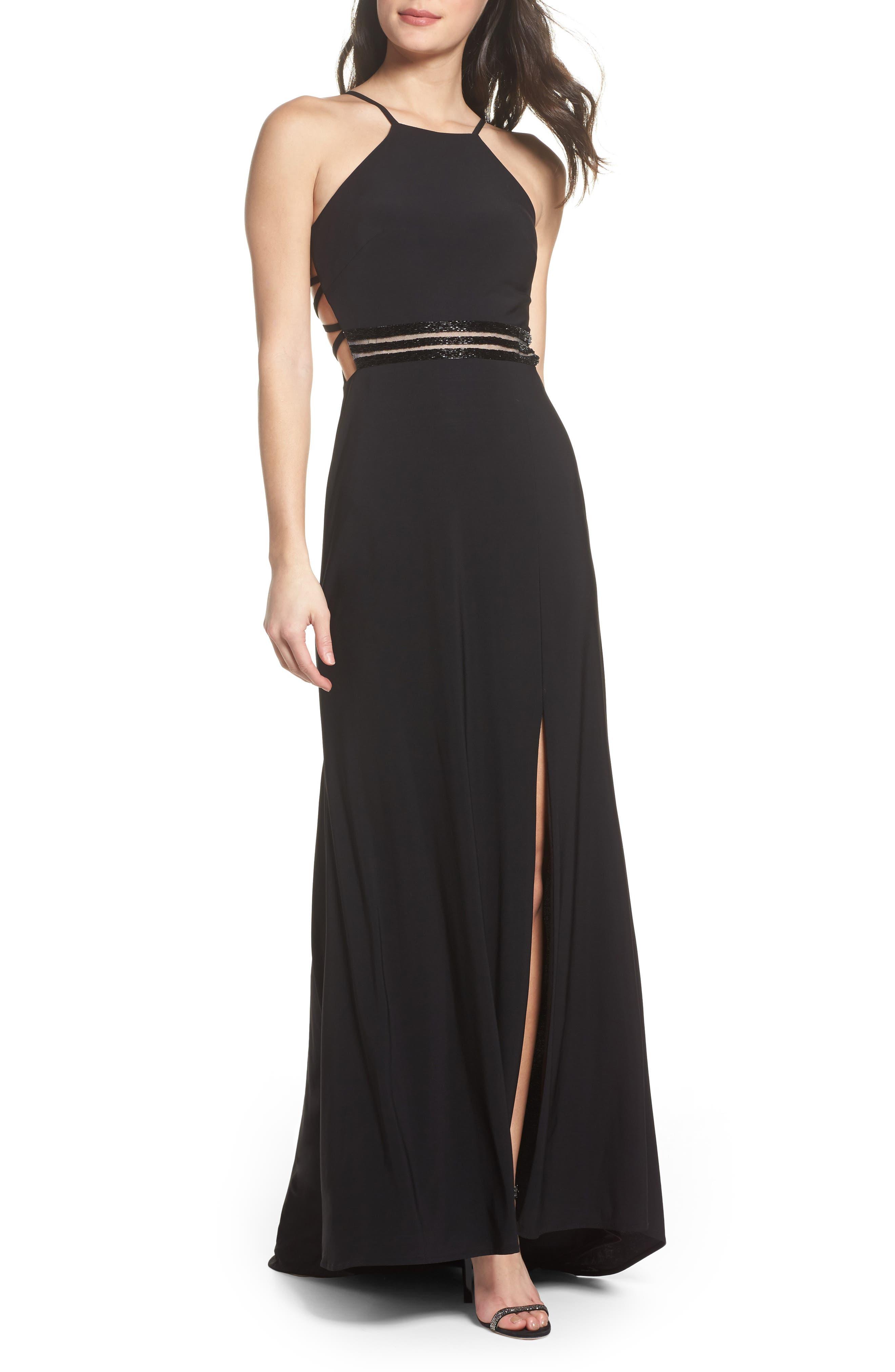 Alternate Image 1 Selected - Morgan & Co. Beaded Mesh Halter Gown