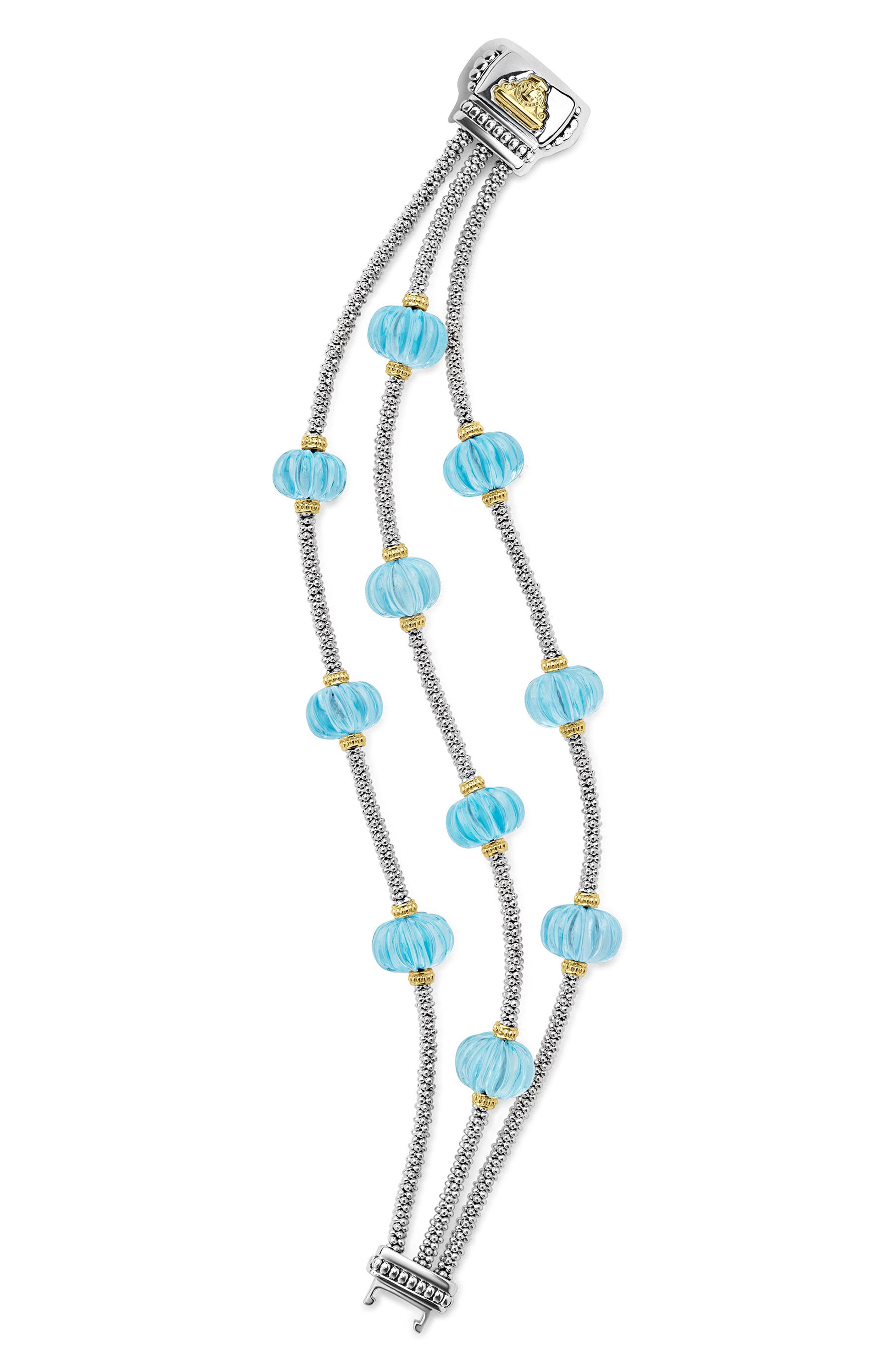 Caviar Forever Triple Strand Melon Bead Bracelet,                             Alternate thumbnail 3, color,                             Silver/ Sky Blue Topaz