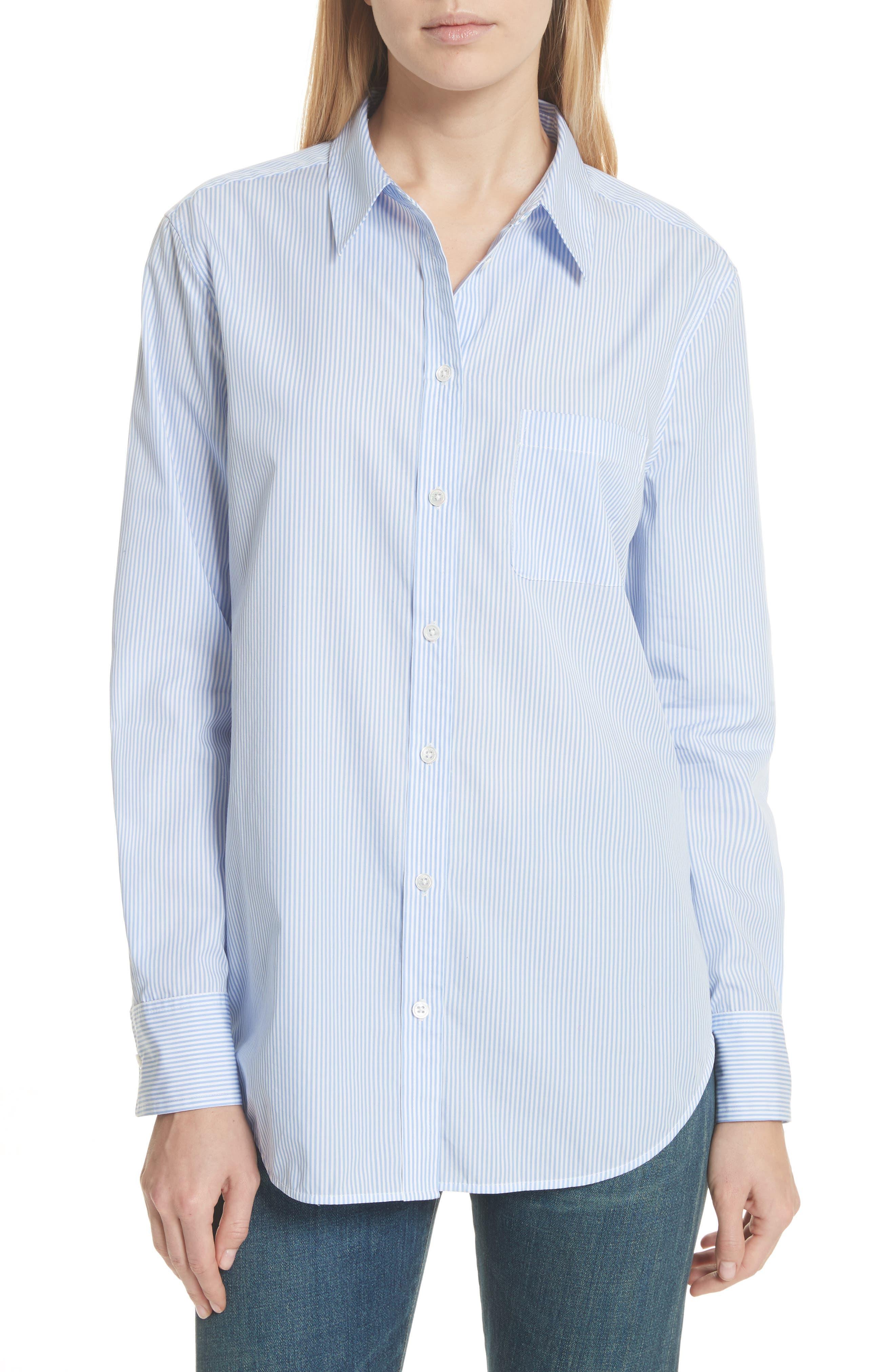 Kenton Stripe Poplin Top,                         Main,                         color, Bright White