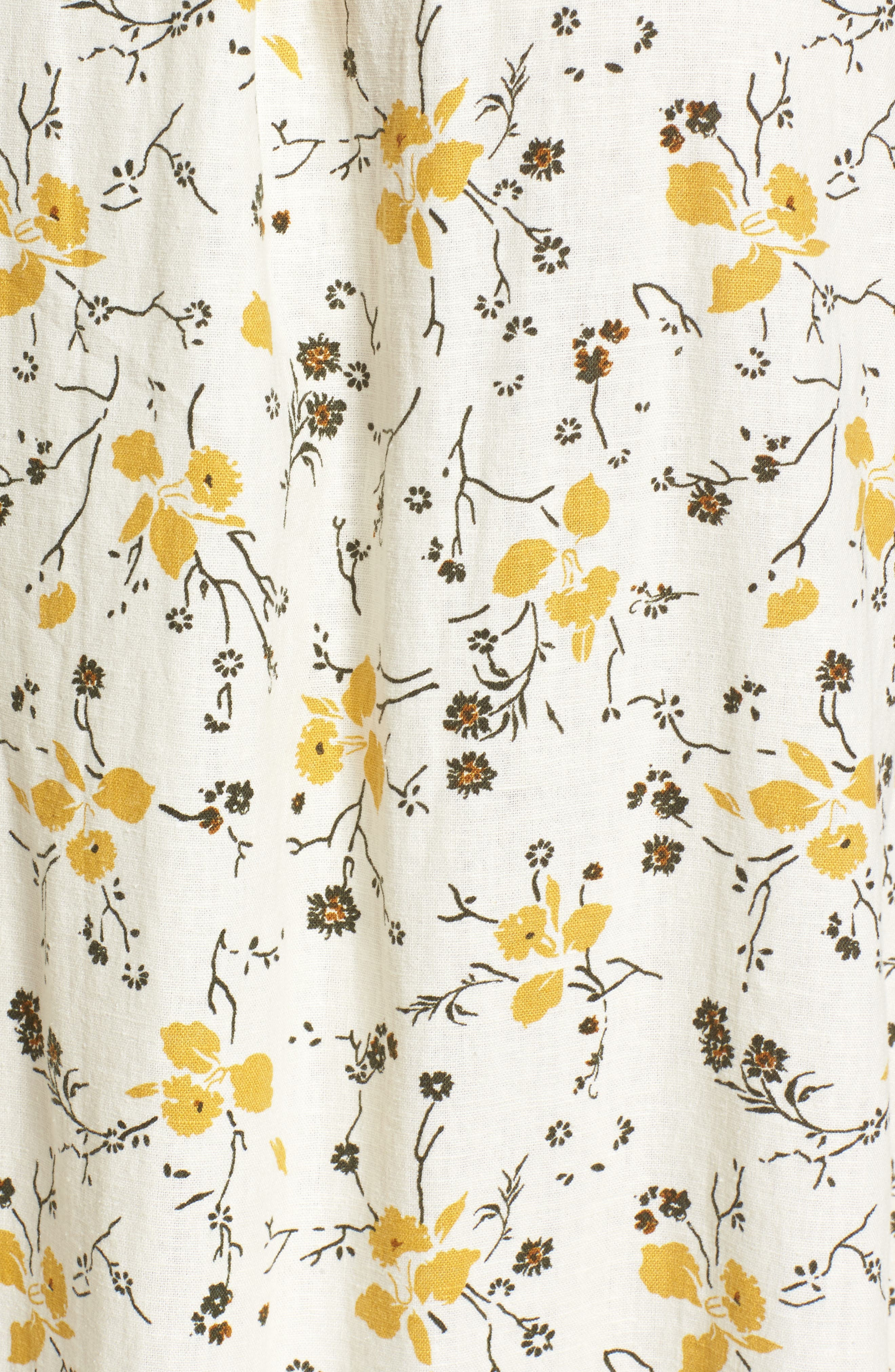 Floral Print Tie Back Midi Dress,                             Alternate thumbnail 5, color,                             Ivory Egret Redux Floral