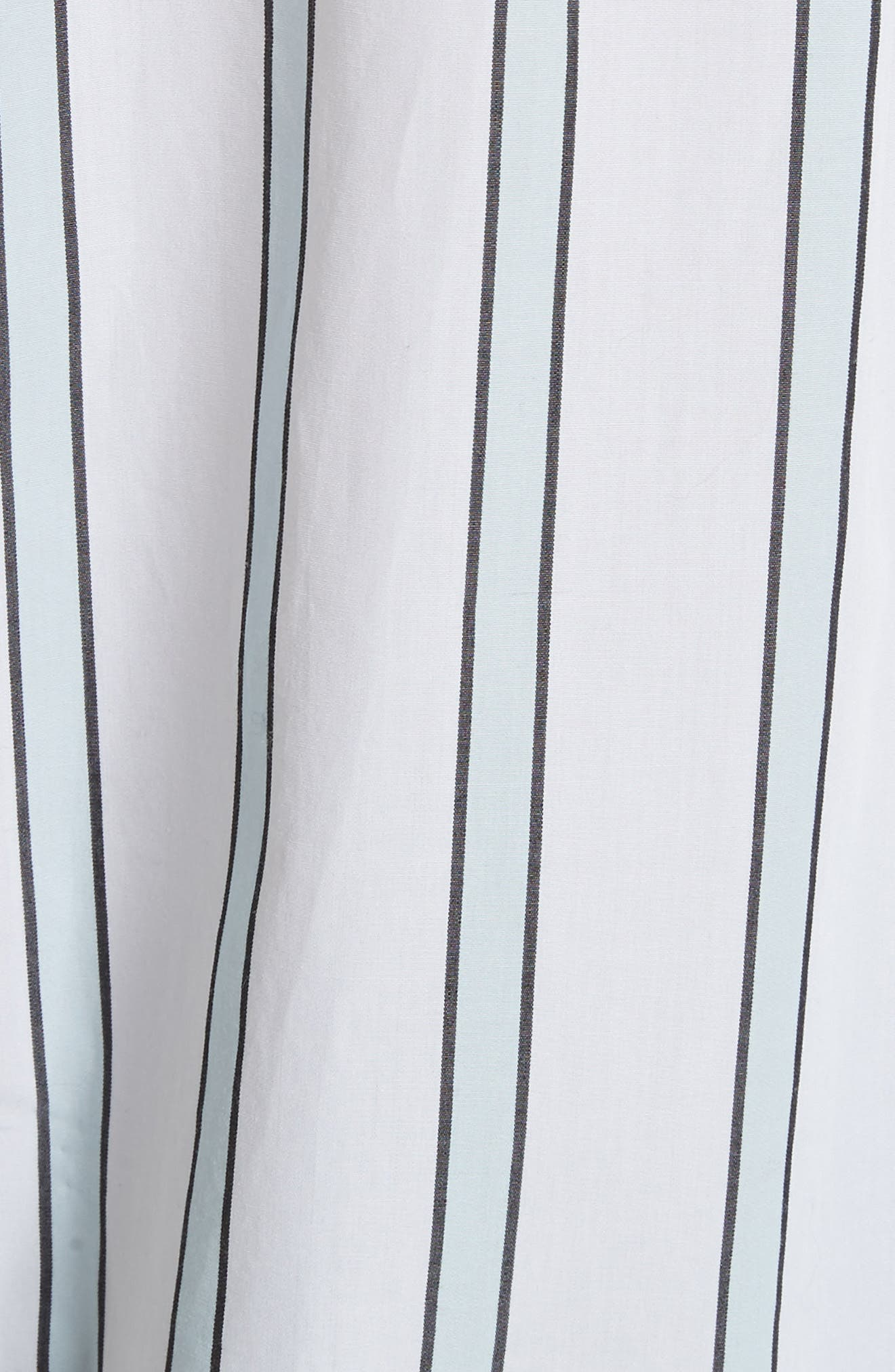 Huntley Stripe Cotton Shirt,                             Alternate thumbnail 5, color,                             Bright White-Cool Breeze