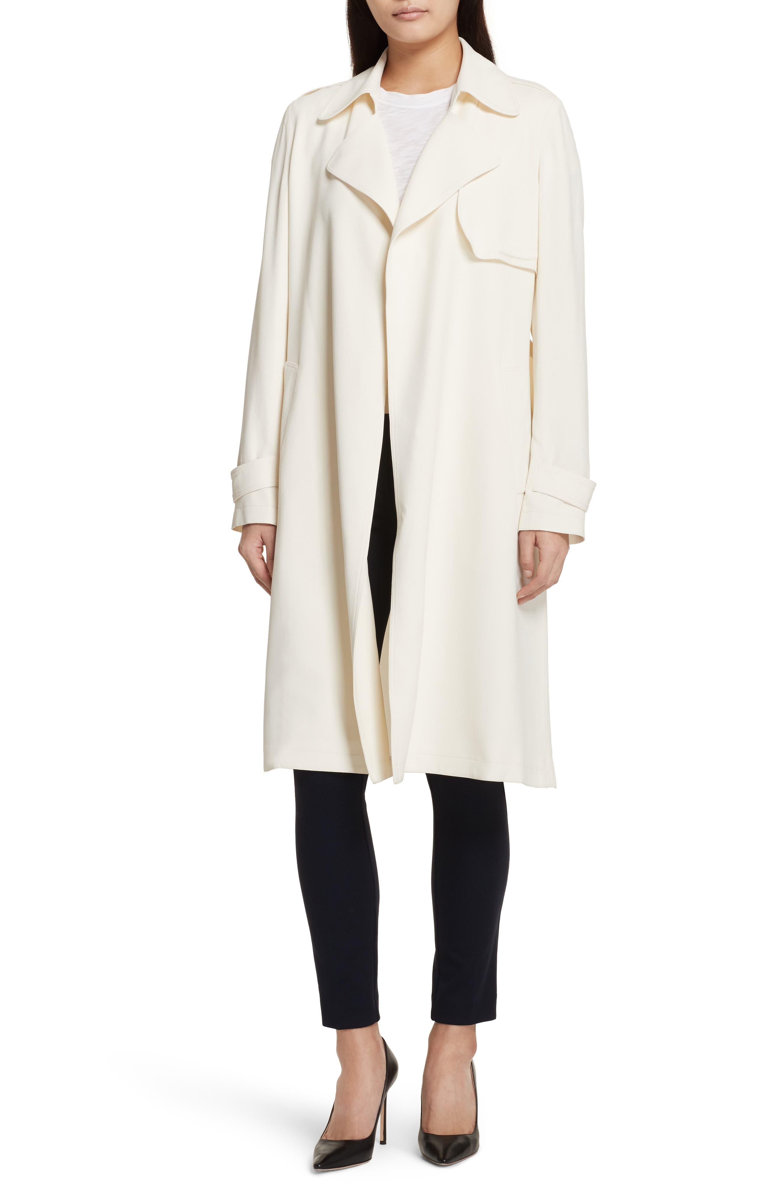 Oaklane Rosina Crepe Trench Coat,                             Main thumbnail 1, color,                             Ivory