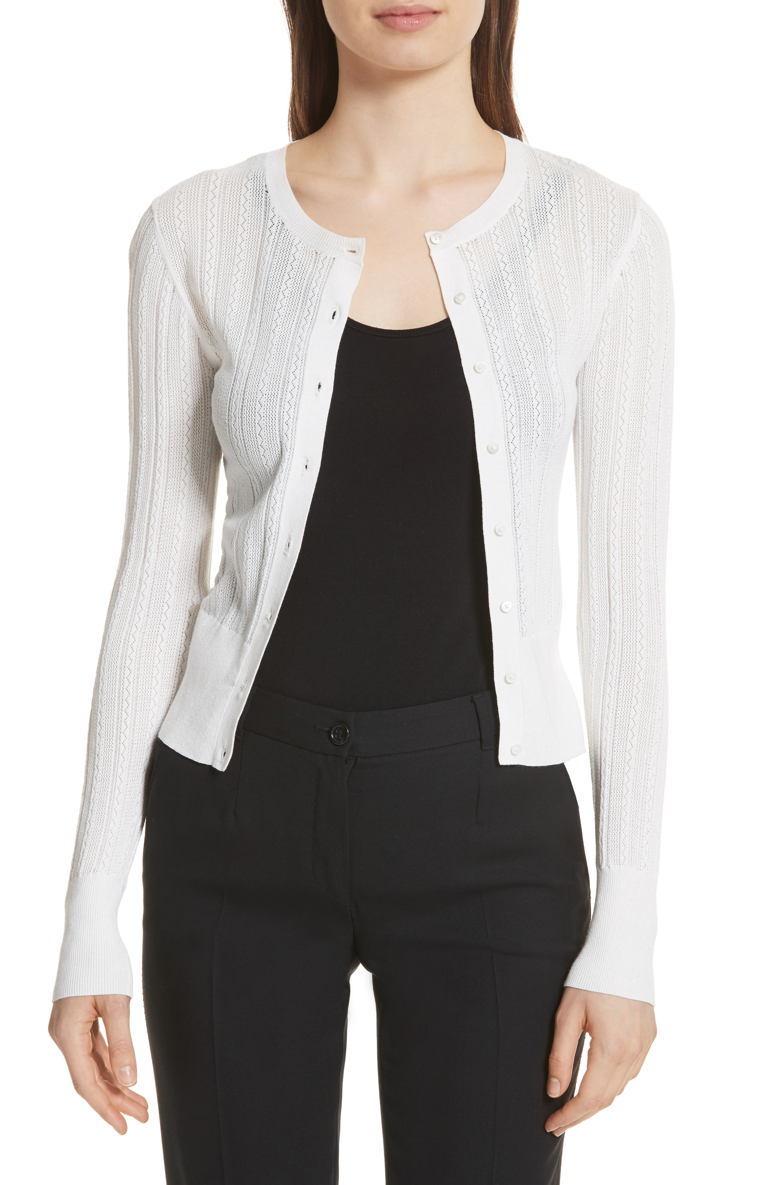 Prosecco Lace Knit Cardigan,                         Main,                         color, Eggshell