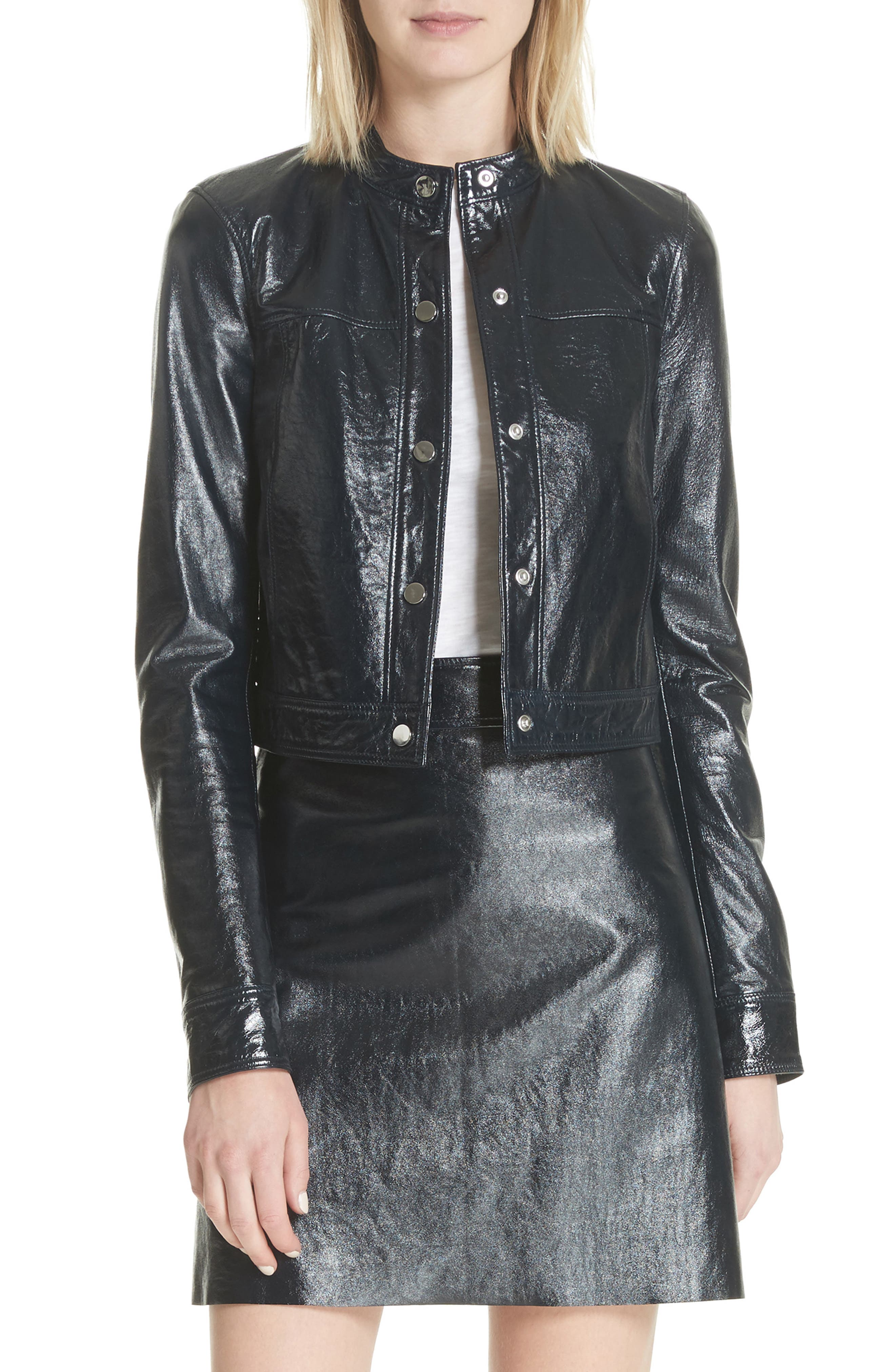 Crinkled Patent Leather Bomber Jacket,                         Main,                         color, Abyss