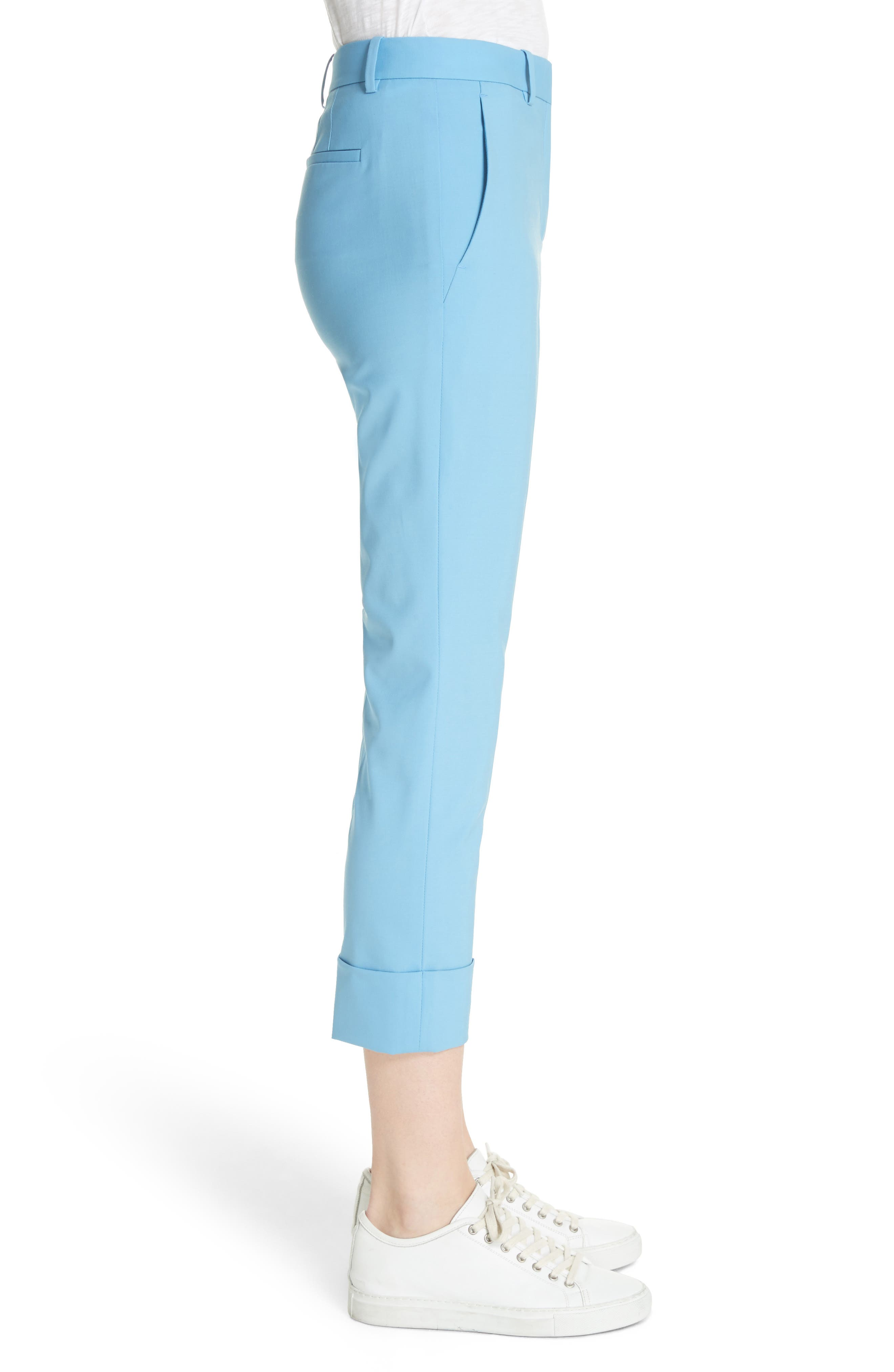 Cuffed Stretch Wool Crop Pants,                             Alternate thumbnail 3, color,                             Blue Robin