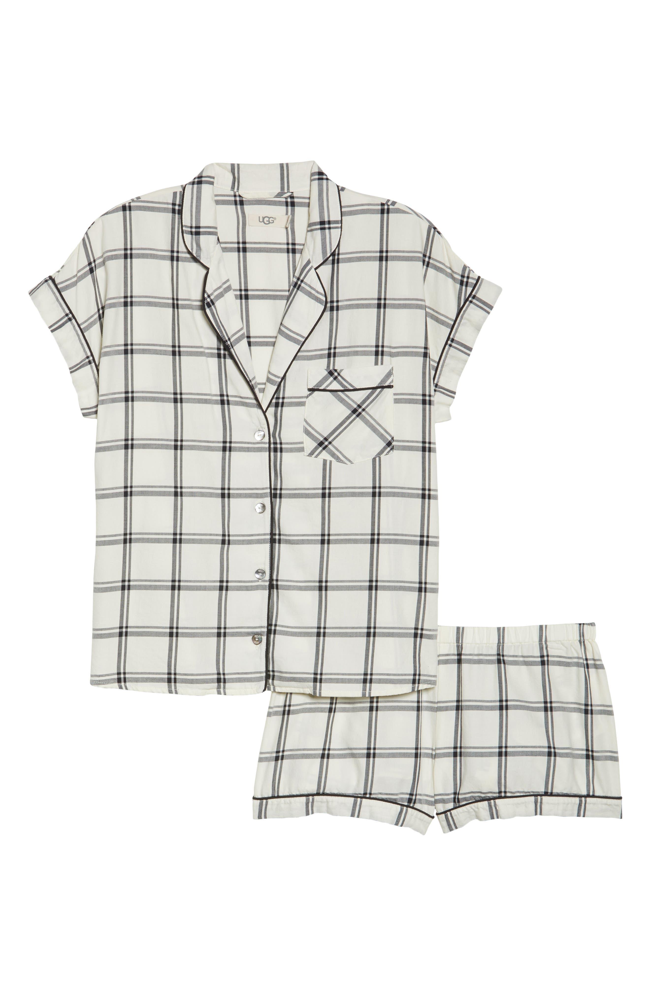 Amelia Short Pajamas,                             Alternate thumbnail 4, color,                             Cream/ Black
