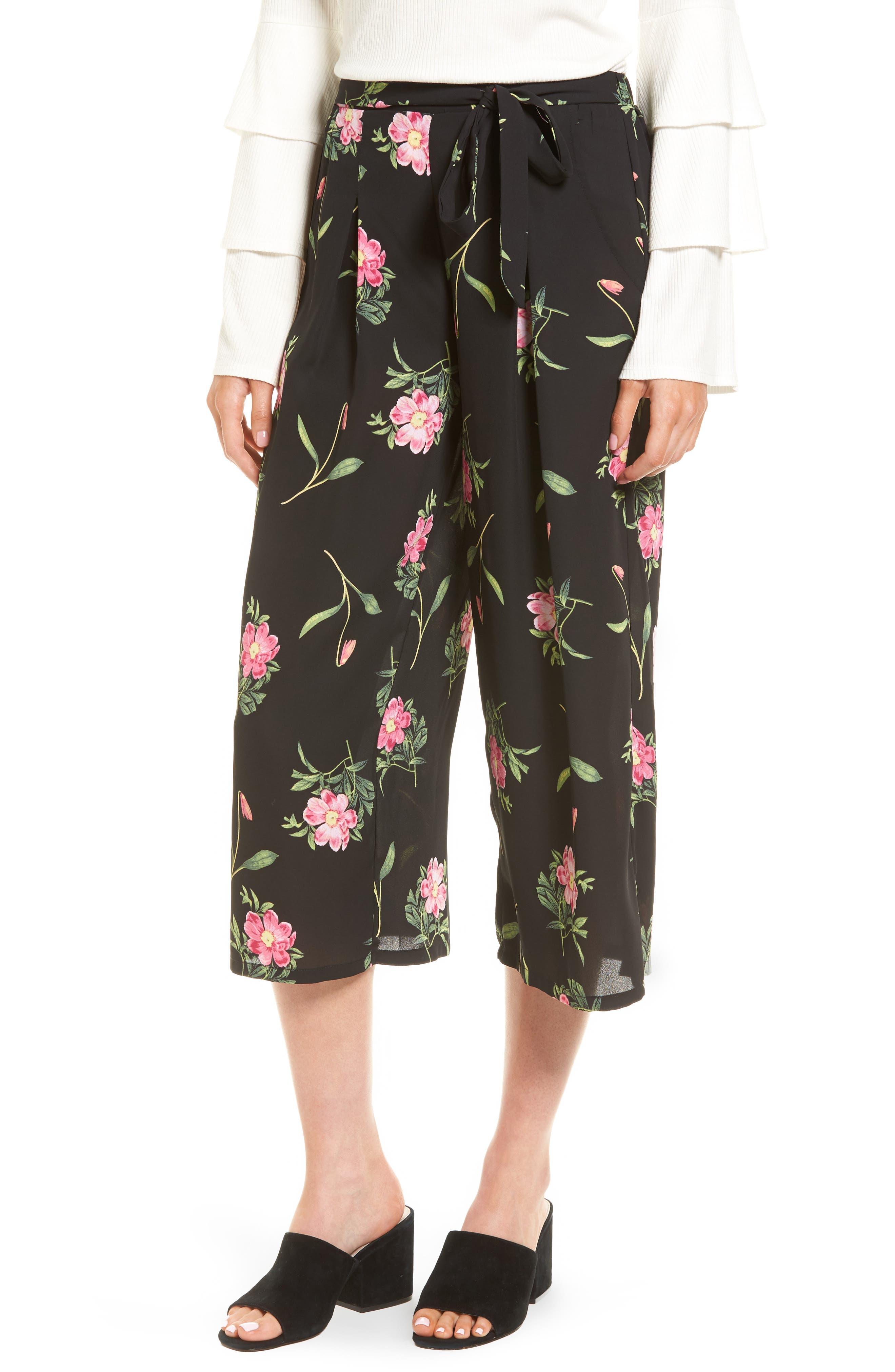 Floral Wide Leg Crop Pants,                         Main,                         color, Black Floral