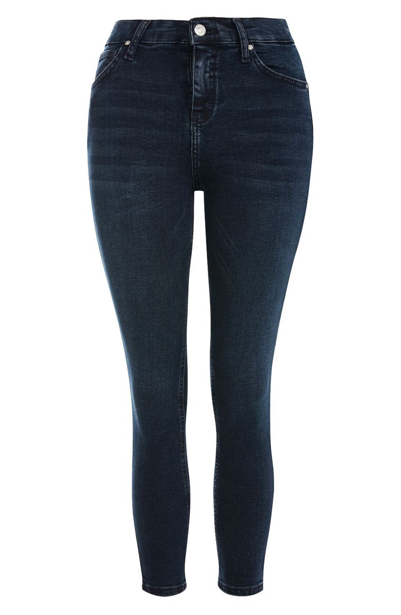 Jamie Crop Skinny Jeans,                             Alternate thumbnail 4, color,                             Dark Blue