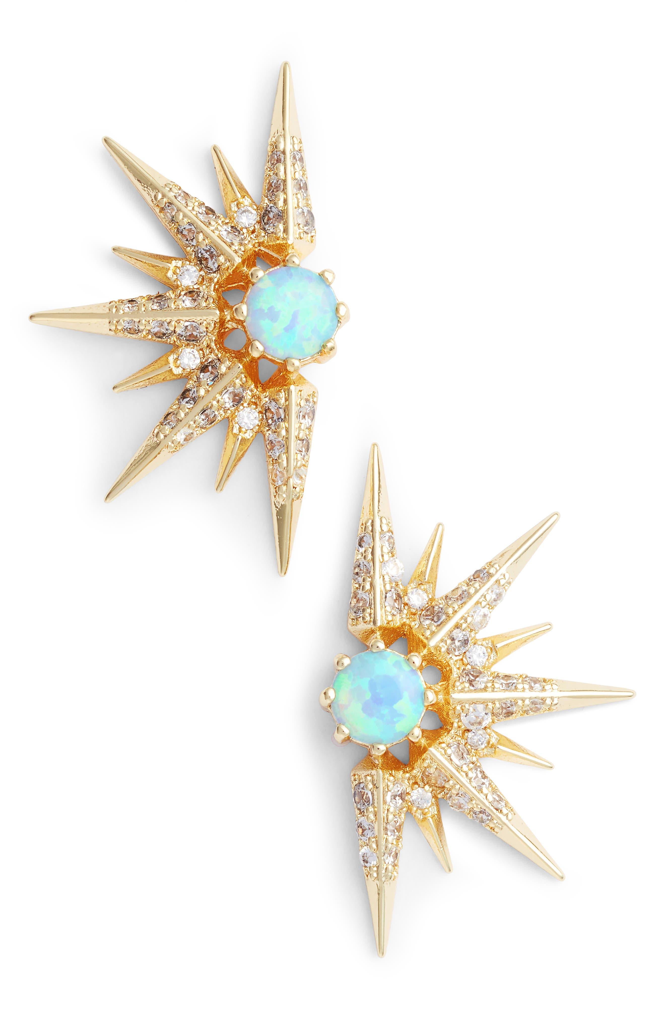 Barrie Earrings,                         Main,                         color, Opal/ Crystal